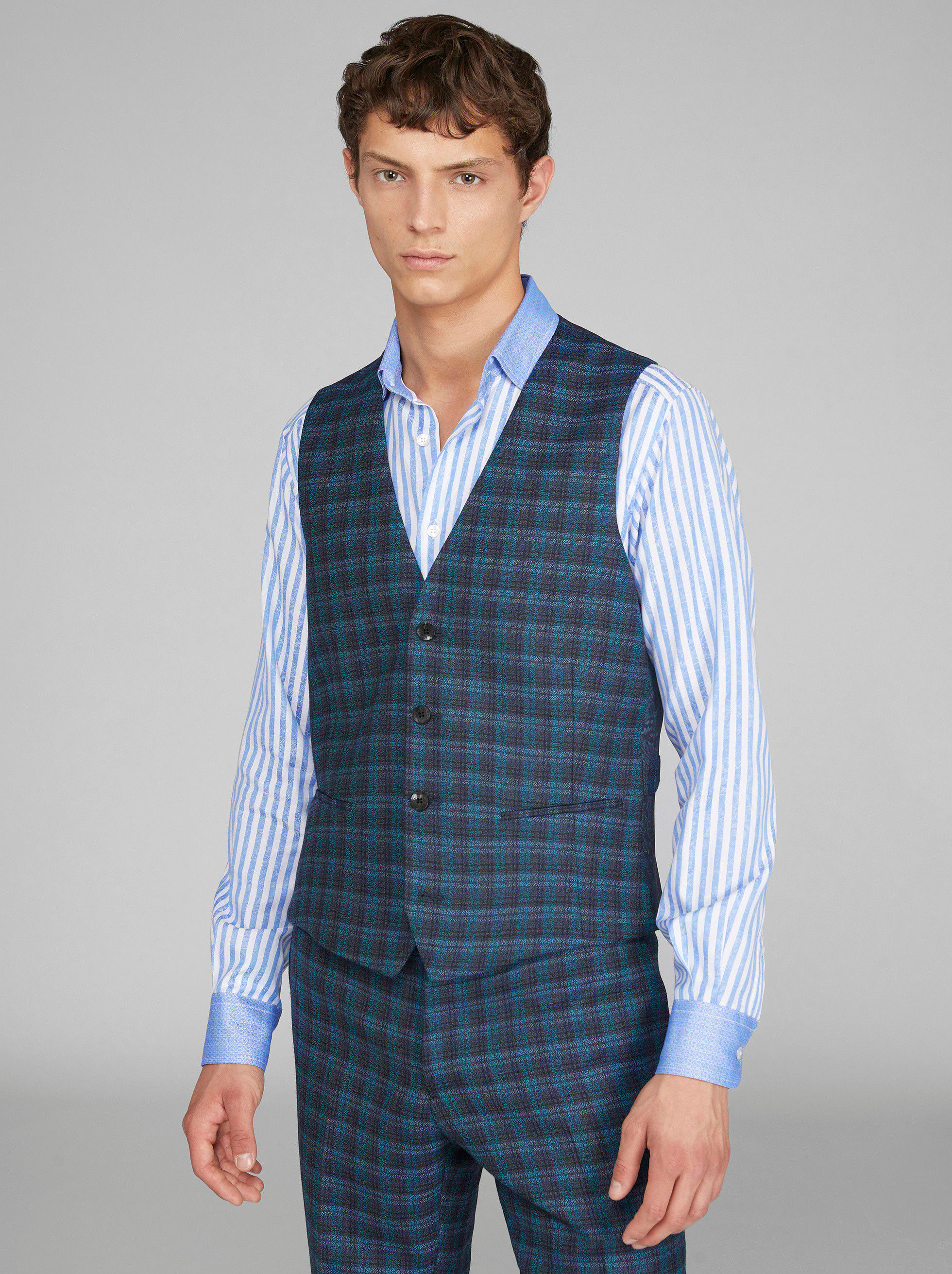 TAILORED CHECK WOOL WAISTCOAT