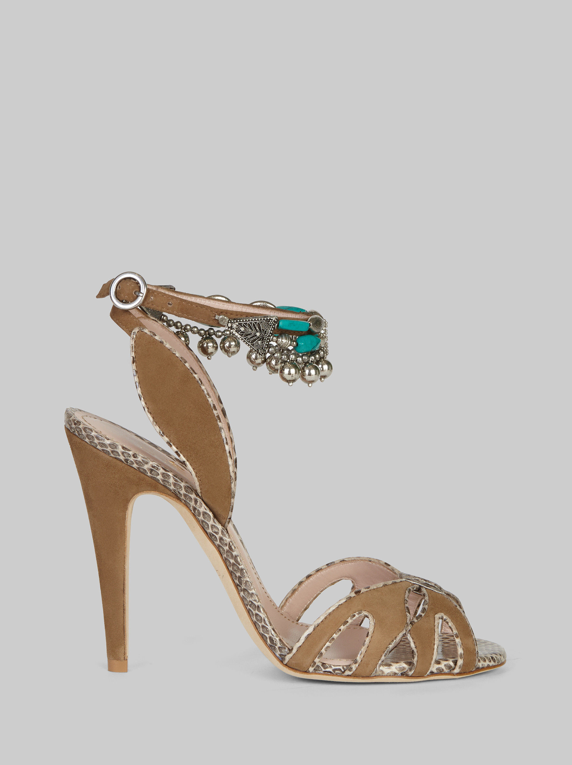 SUEDE AND AYERS SANDALS WITH SEMI-PRECIOUS STONES