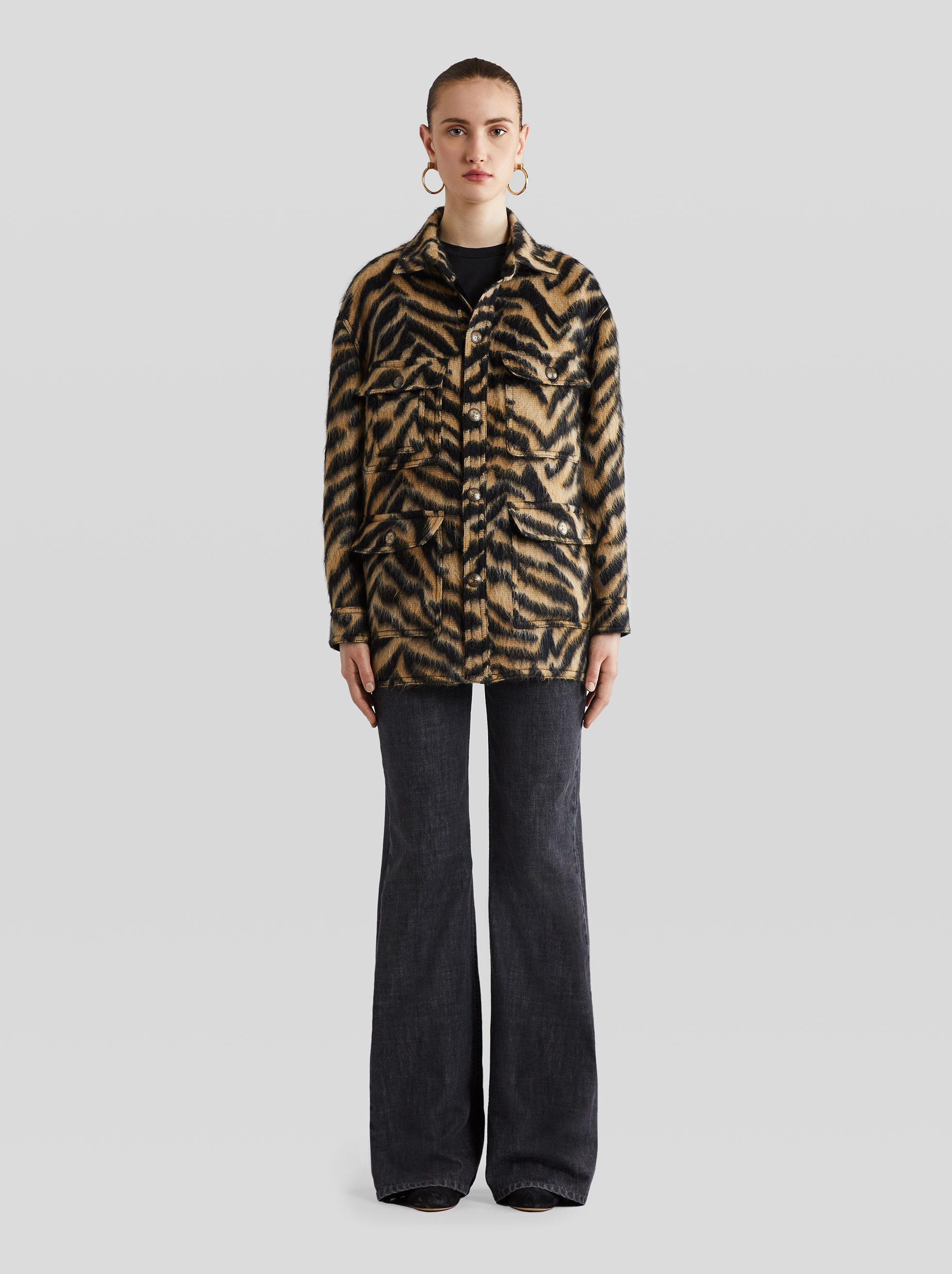 ANIMAL PRINT WOOL AND ALPACA SAFARI JACKET