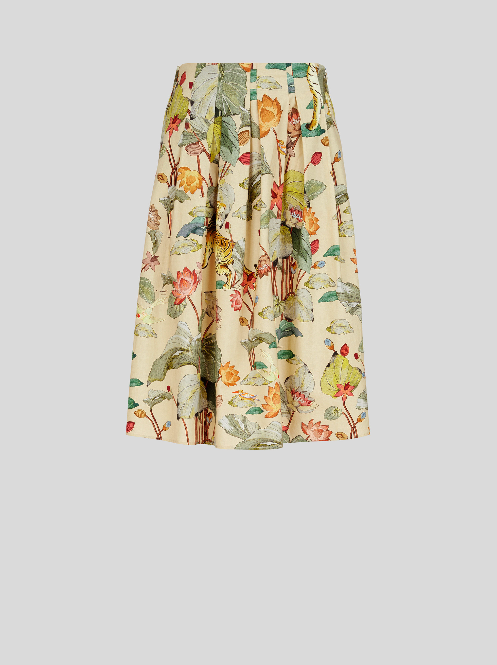 TIGER AND WATER LILY COTTON SKIRT