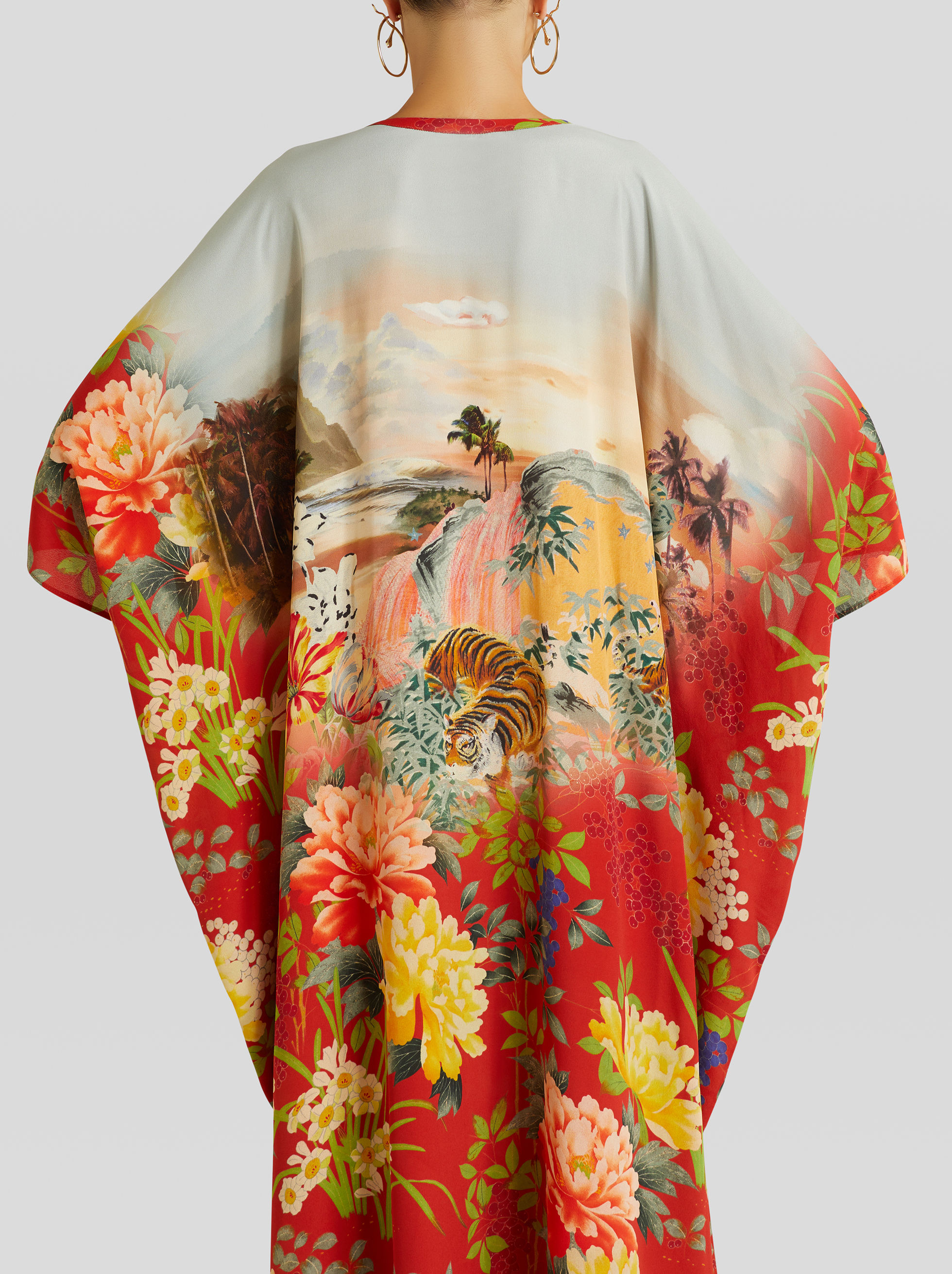 TIGER AND WATER LILY PRINT CAFTAN