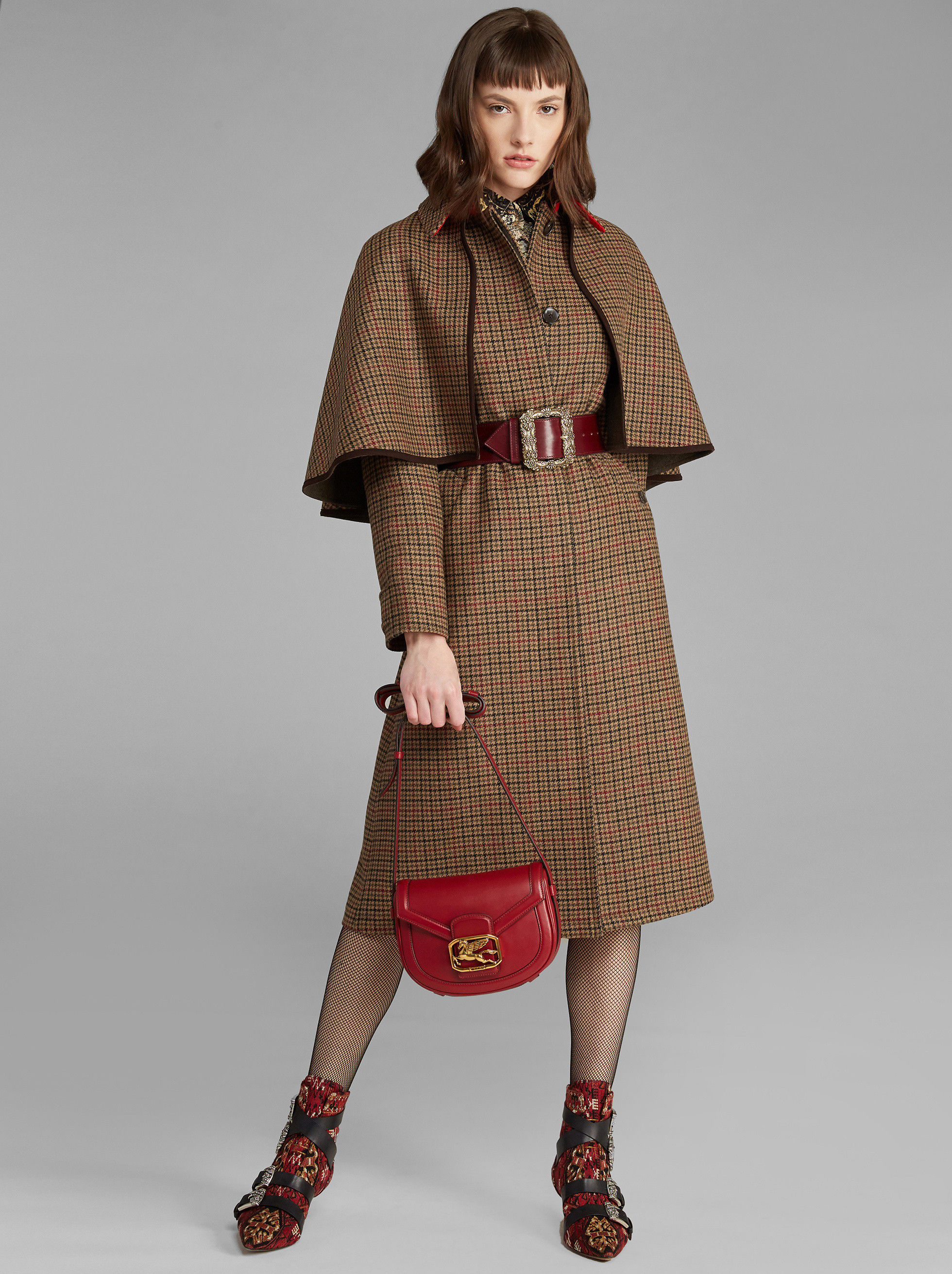 HOUNDSTOOTH COAT WITH CAPE
