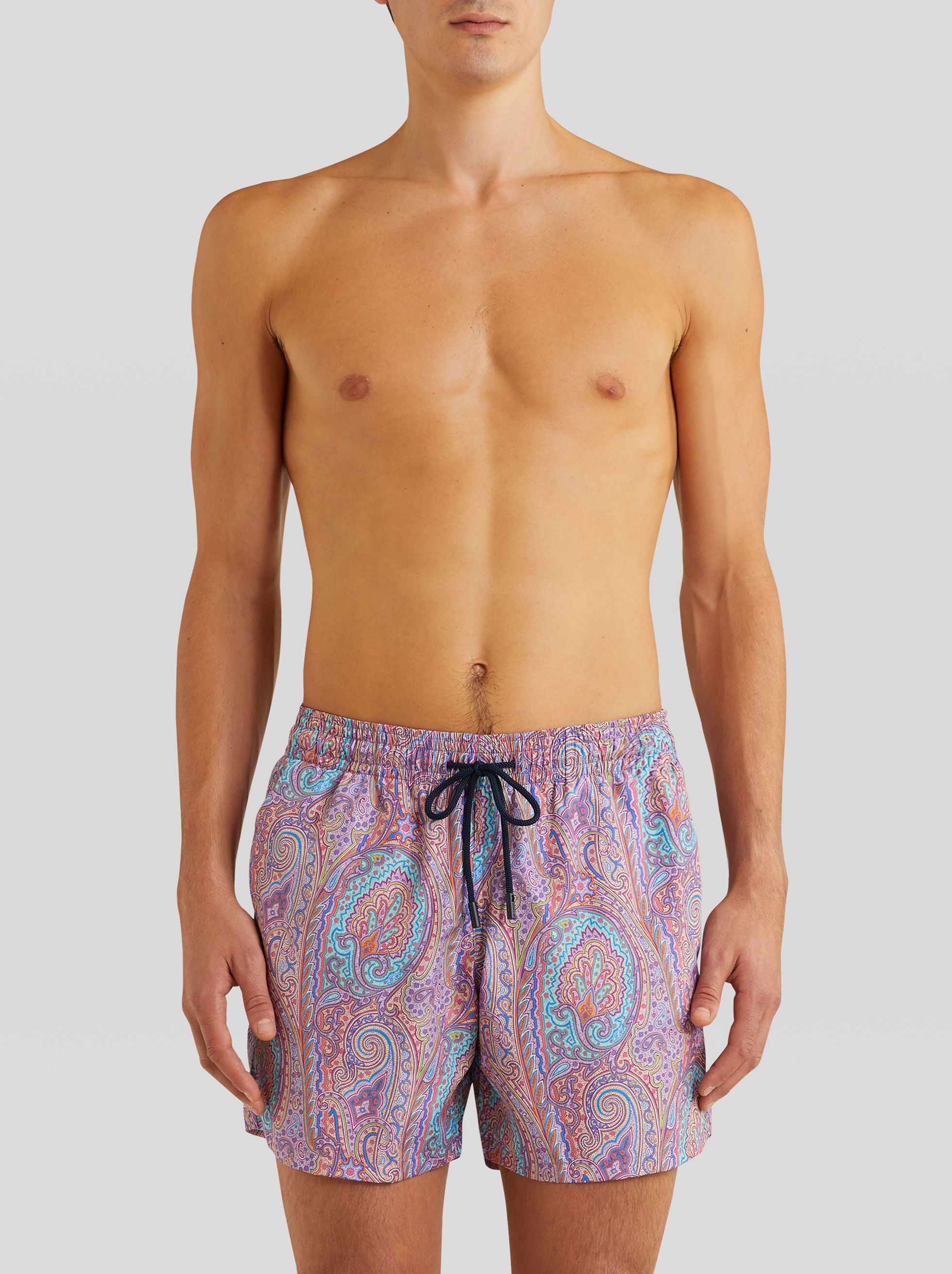 FLORAL PAISLEY PATTERN SWIM SHORTS