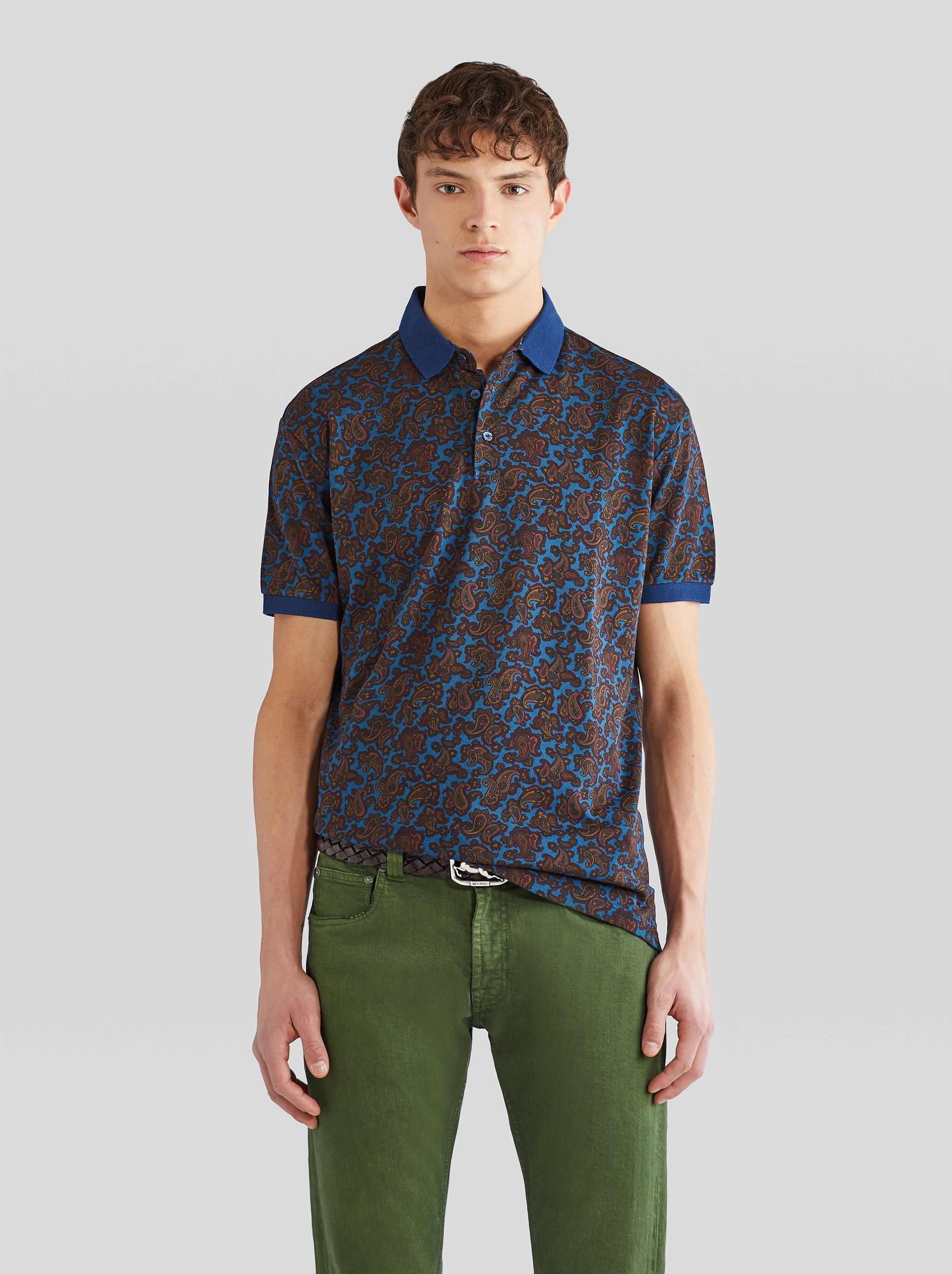 PIQUET POLO SHIRT WITH MICRO PAISLEY PRINT