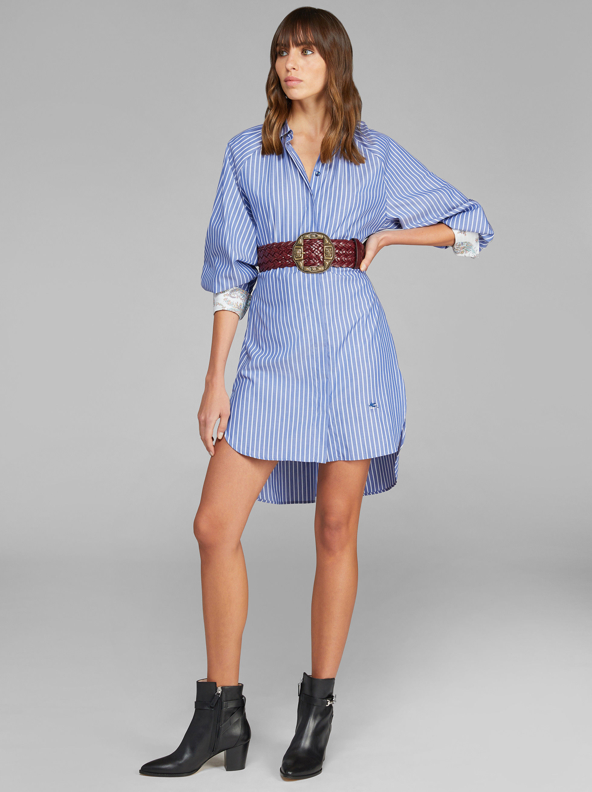 STRIPED SHIRT WITH PEGASO EMBROIDERY