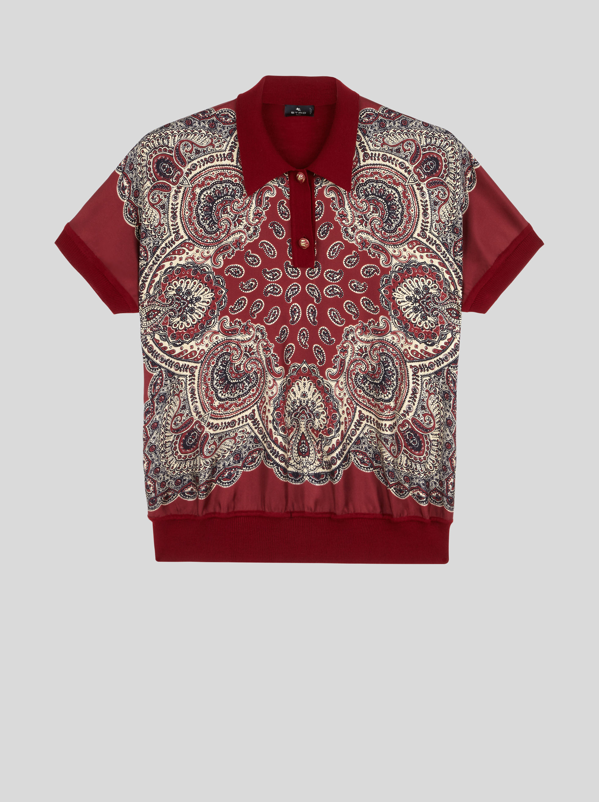 PRINTED WOOL JERSEY POLO SHIRT