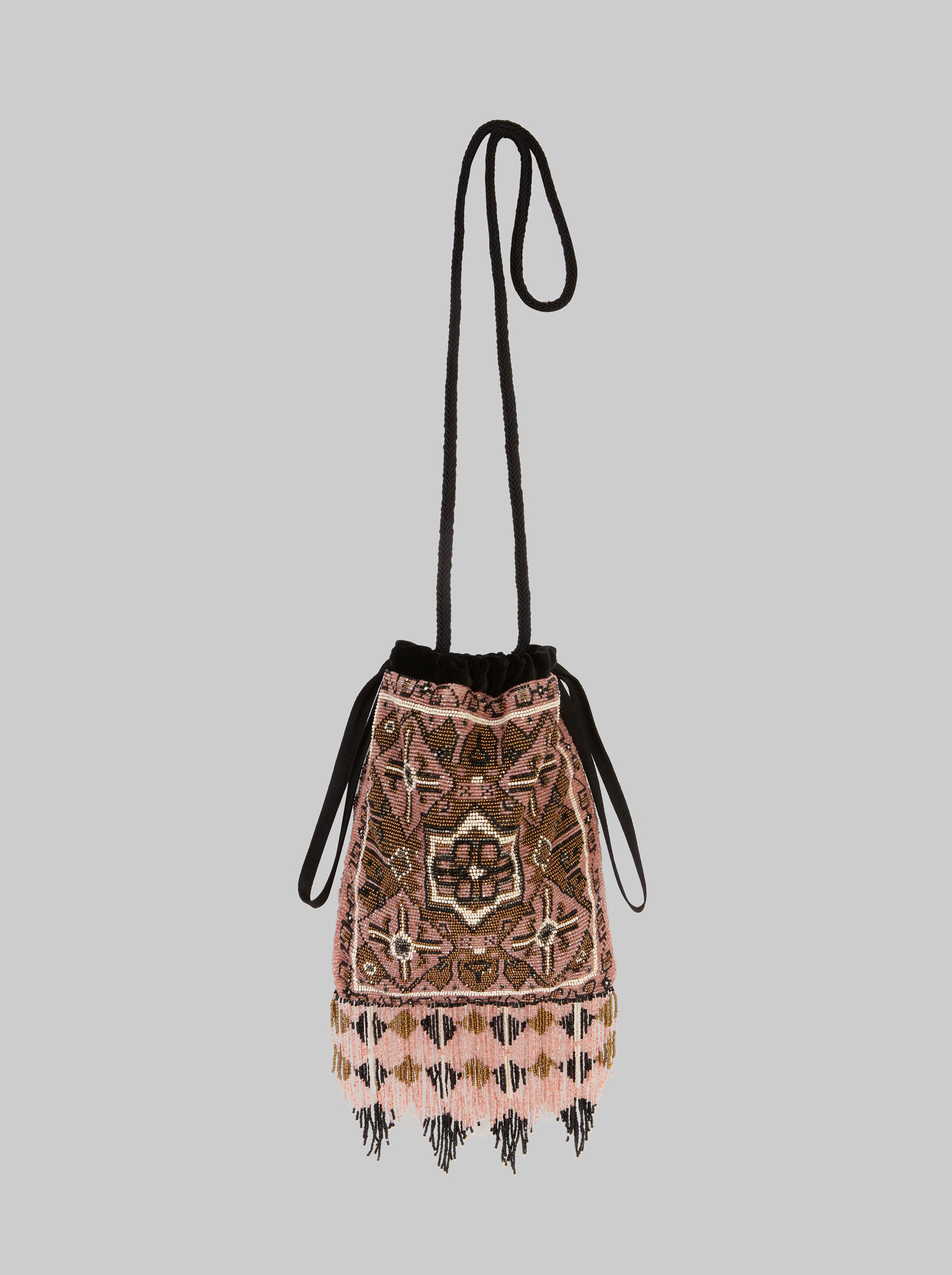 EMBROIDERED BEAD BUCKET BAG