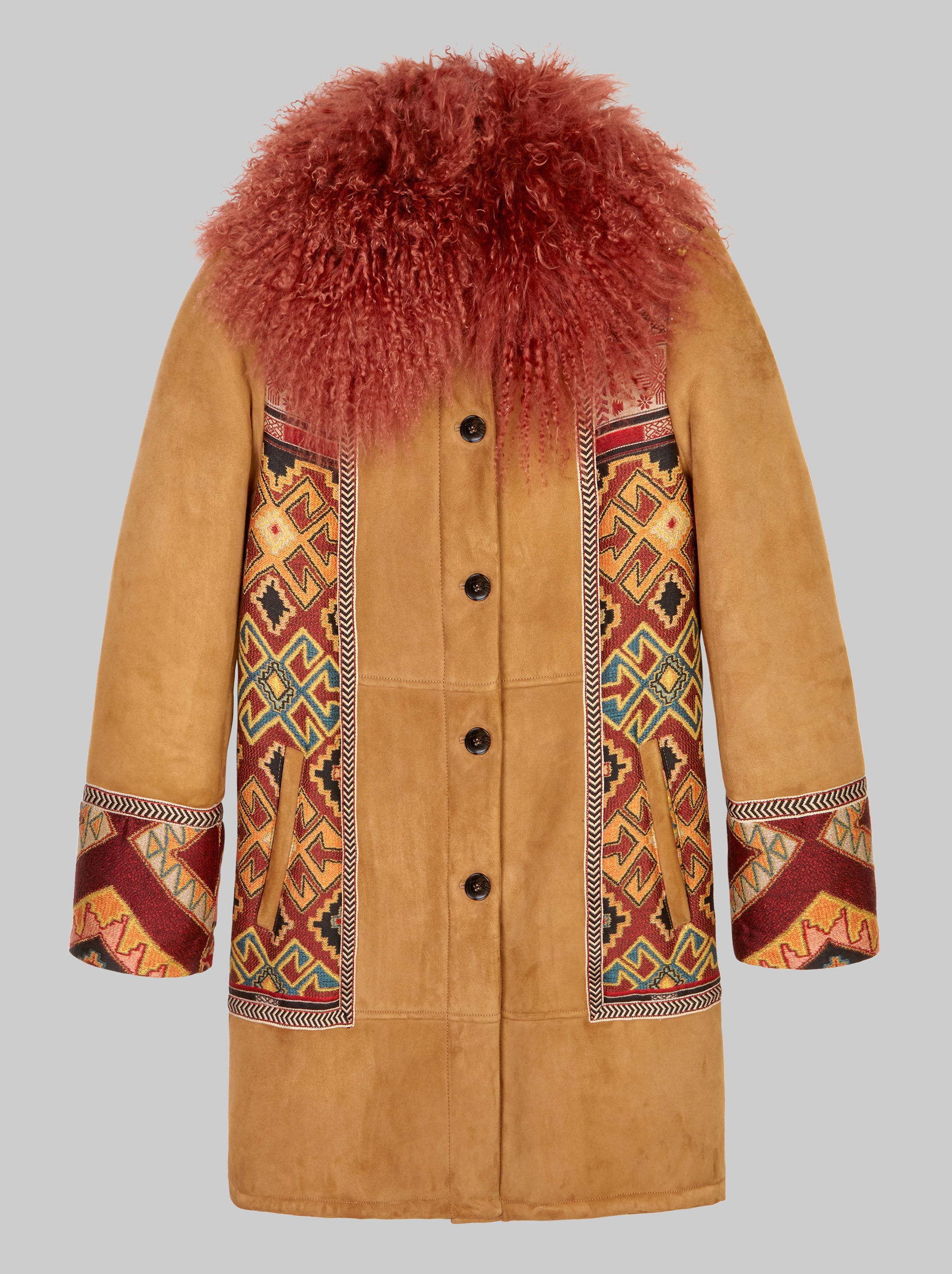 JACQUARD SHEARLING JACKET