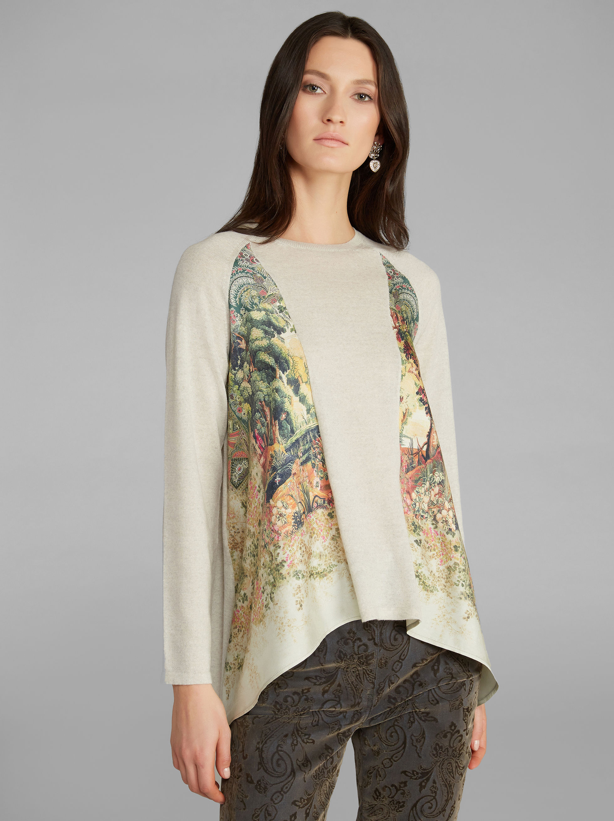JUMPER WITH FLORAL-PRINT INSERTS