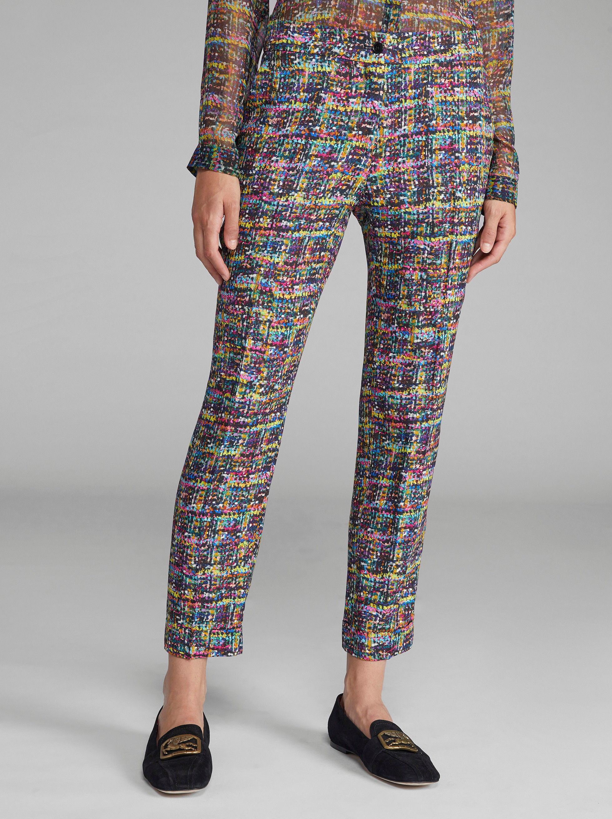 BOUCLÉ PRINT TAILORED TROUSERS