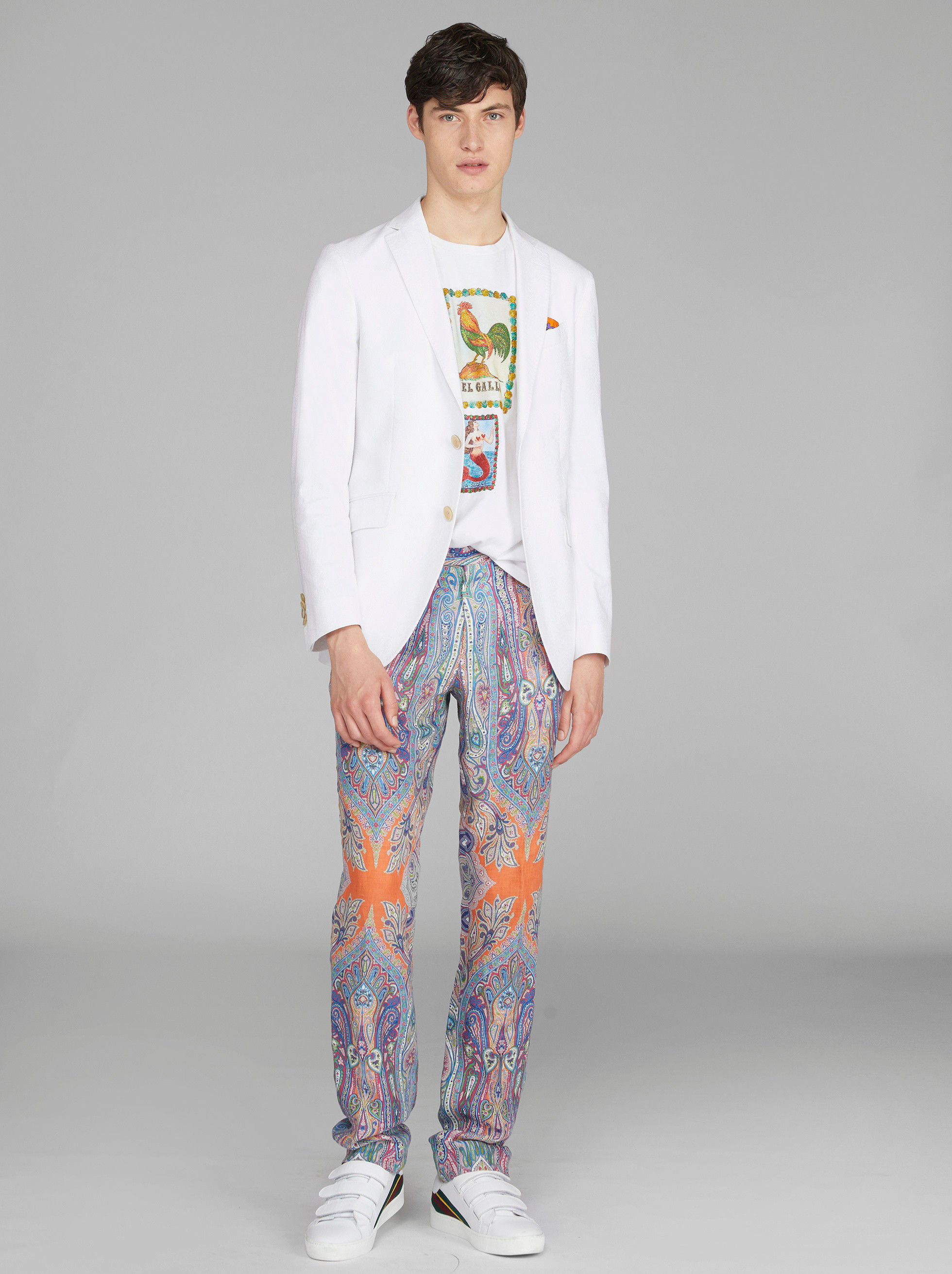 PAISLEY PLACED PRINT TAILORED TROUSERS