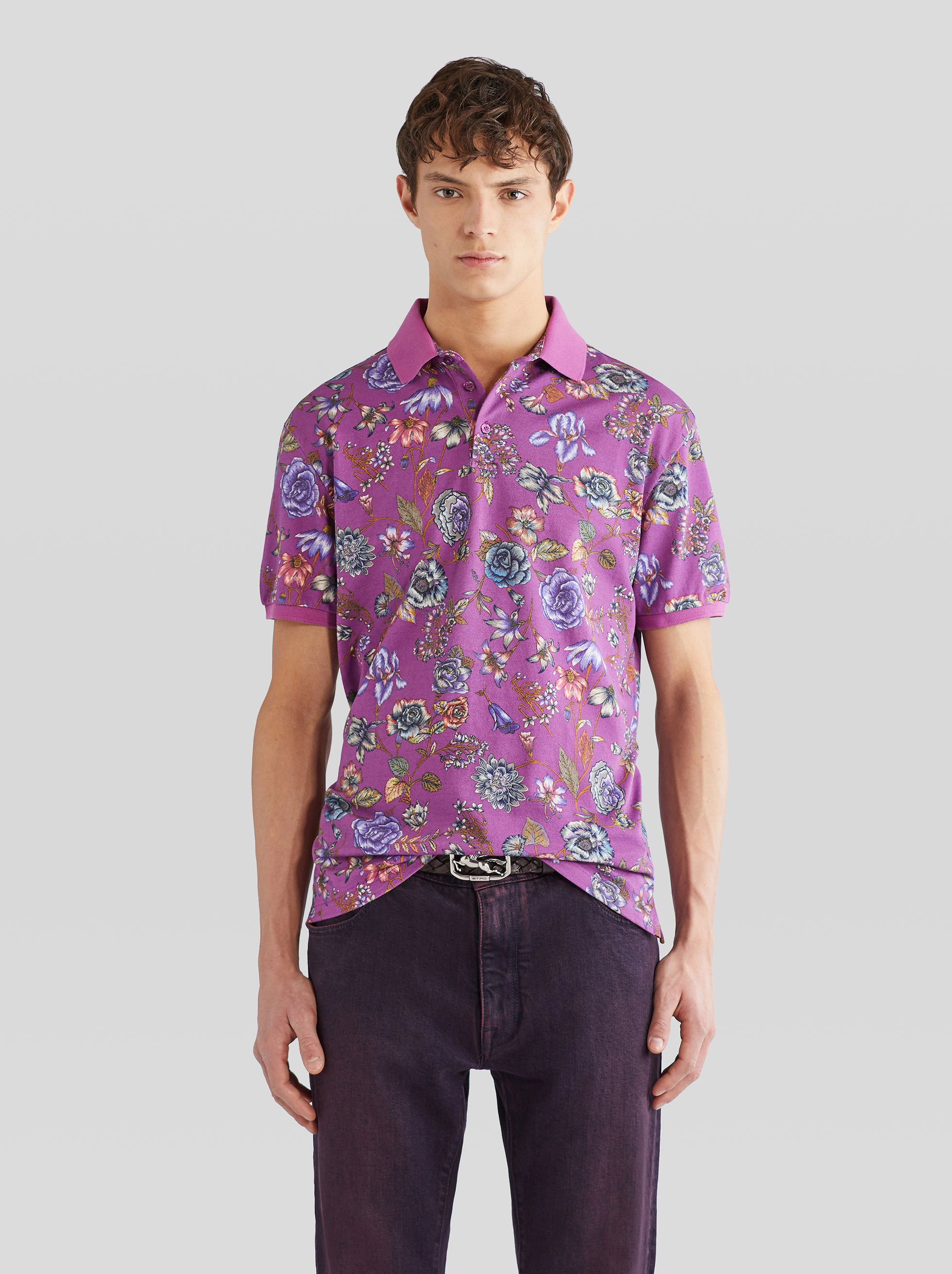 PIQUET POLO SHIRT WITH FLORAL PRINT