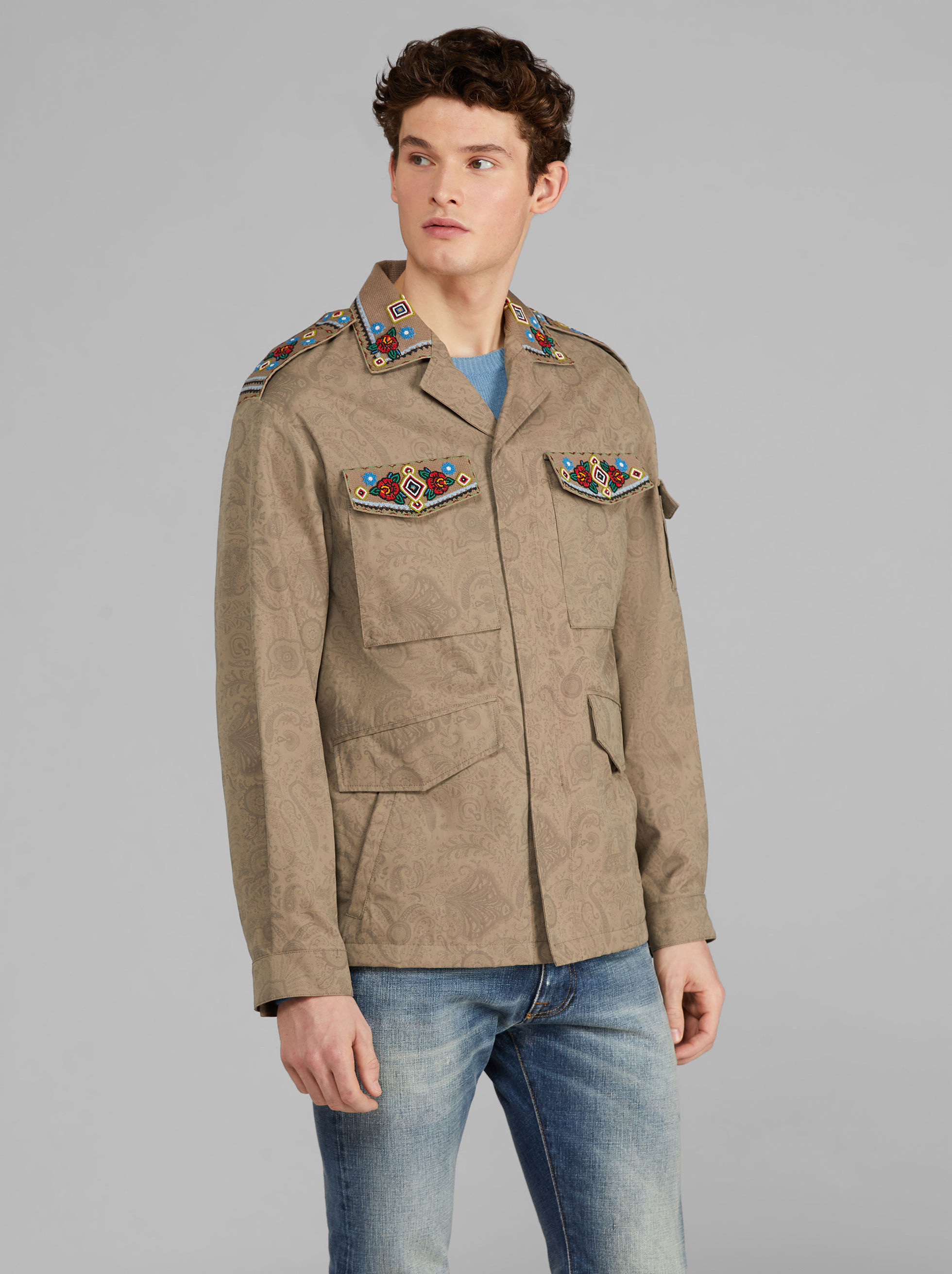 FIELD JACKET WITH CROSS-STITCH EMBROIDERY