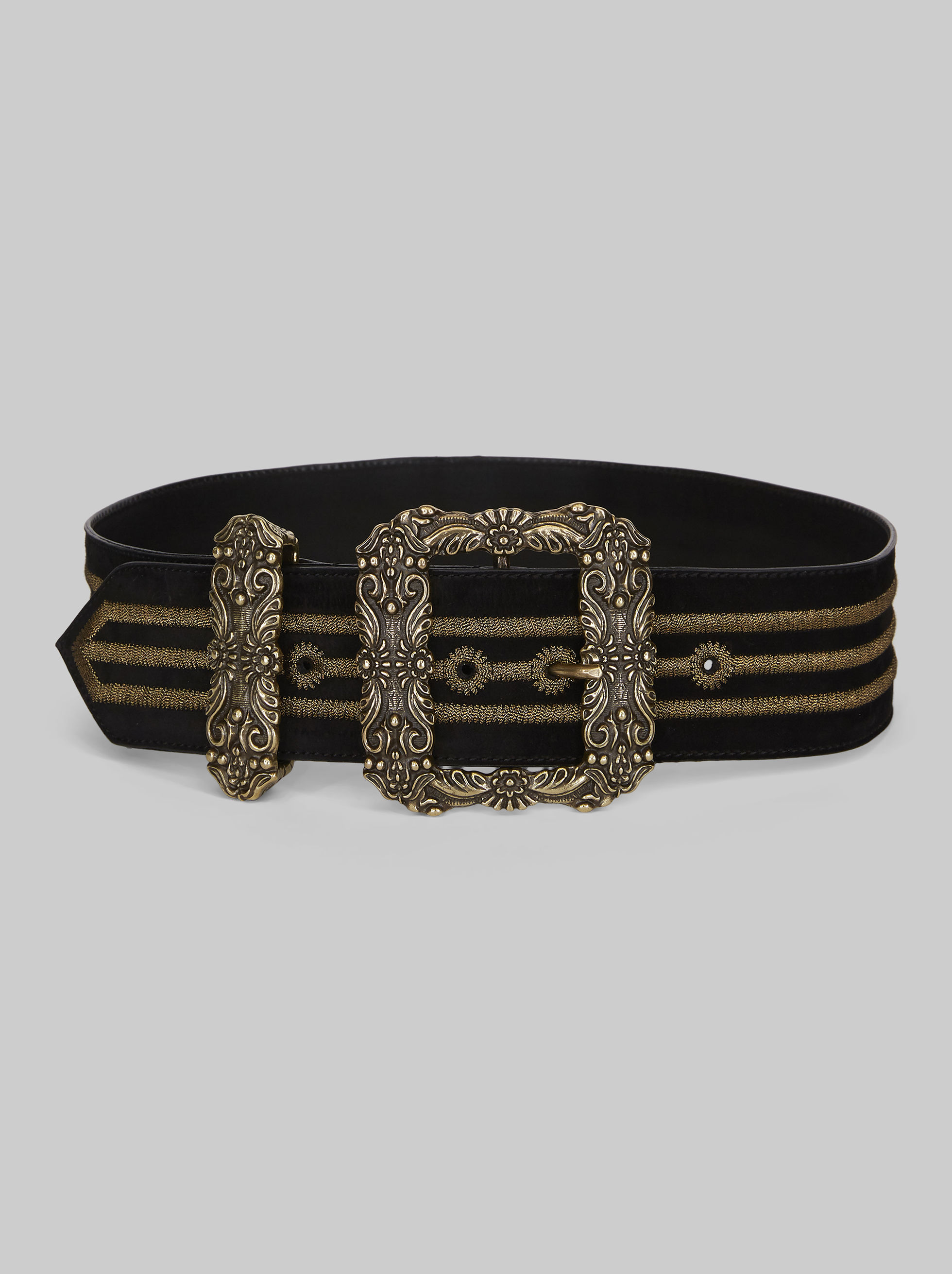 LEATHER BELT WITH EMBROIDERY AND JEWELLED BUCKLE
