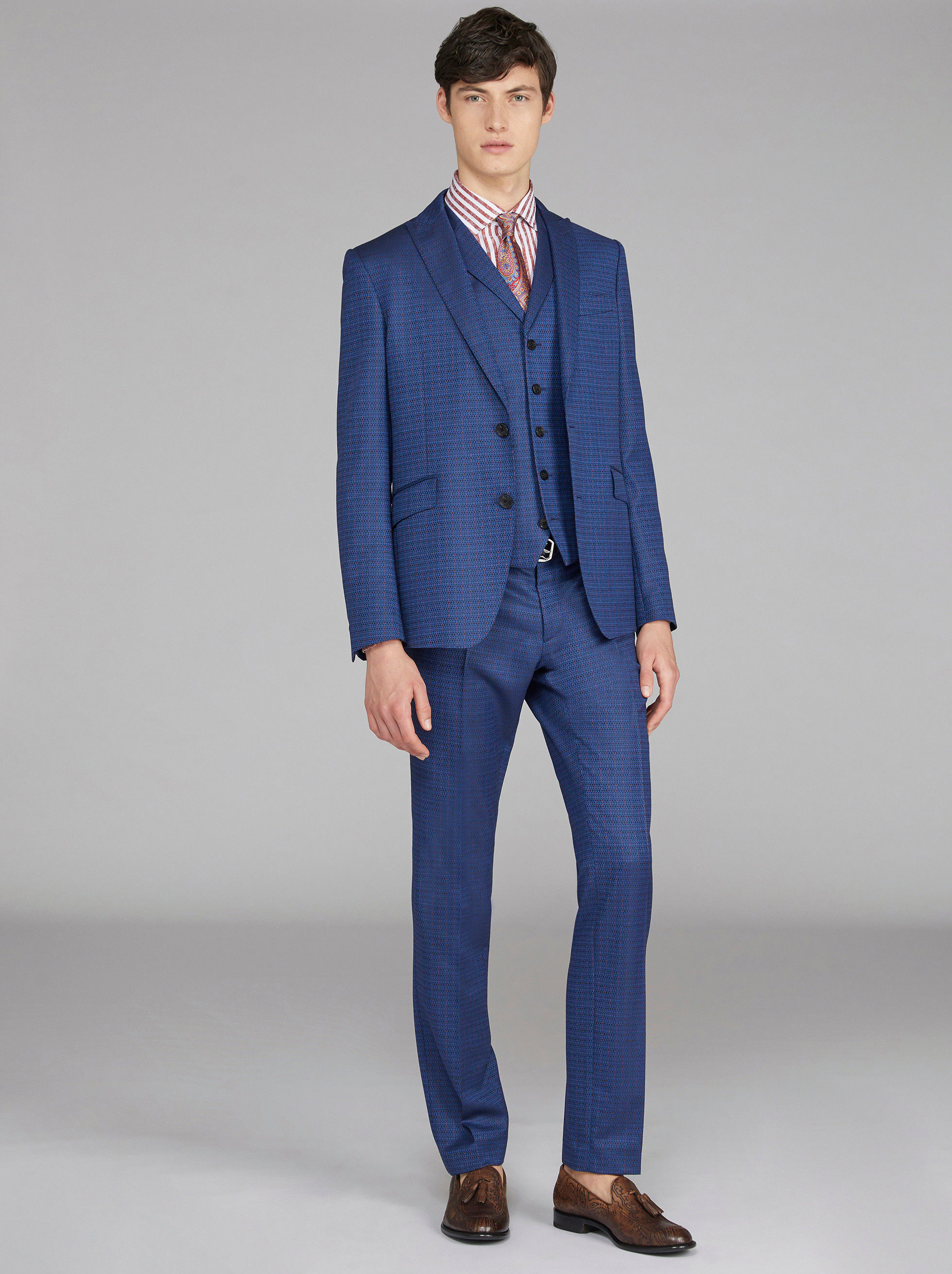 JACQUARD THREE PIECE SUIT WITH LOGO