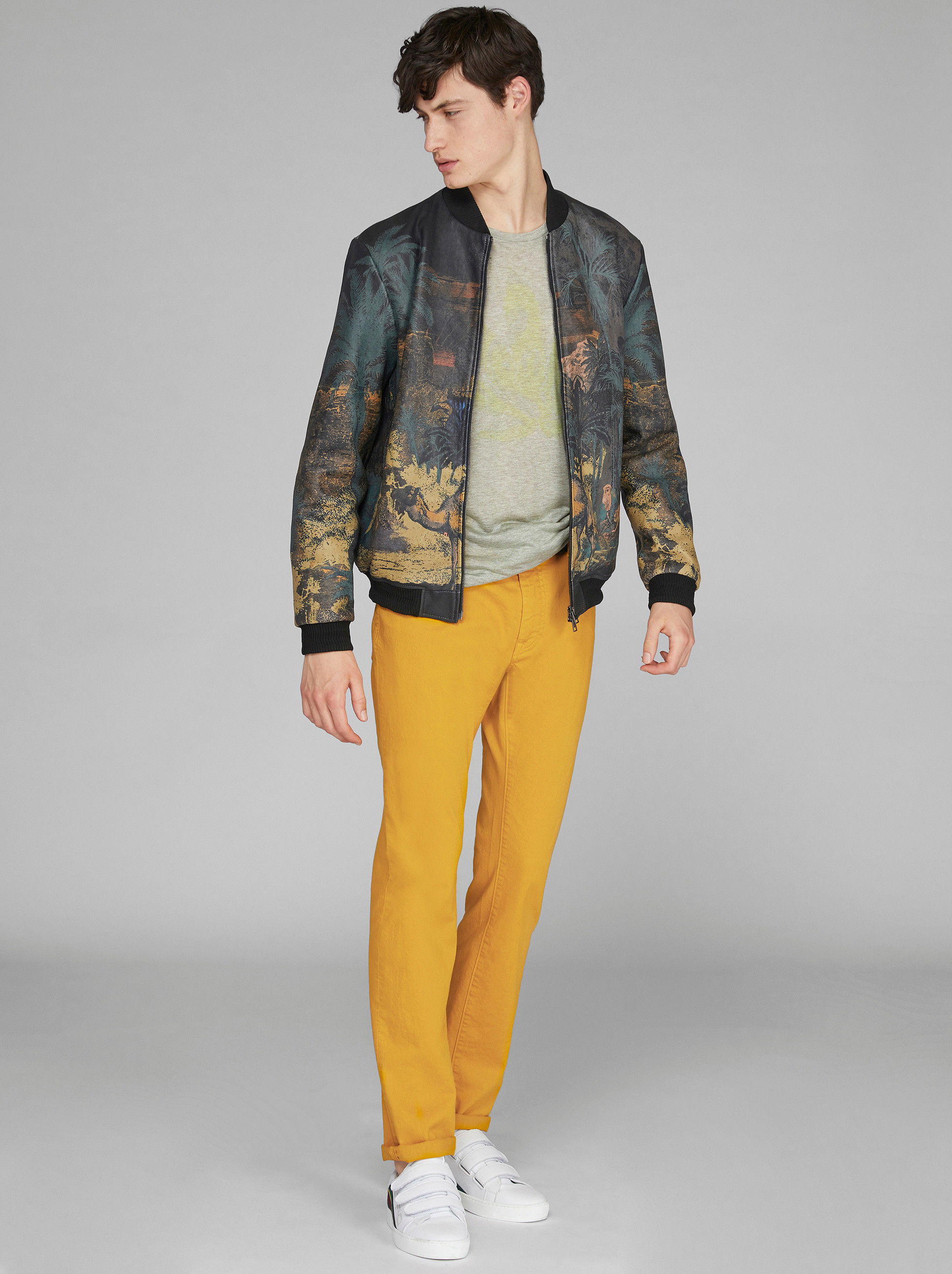 DESERT PRINT LEATHER BOMBER
