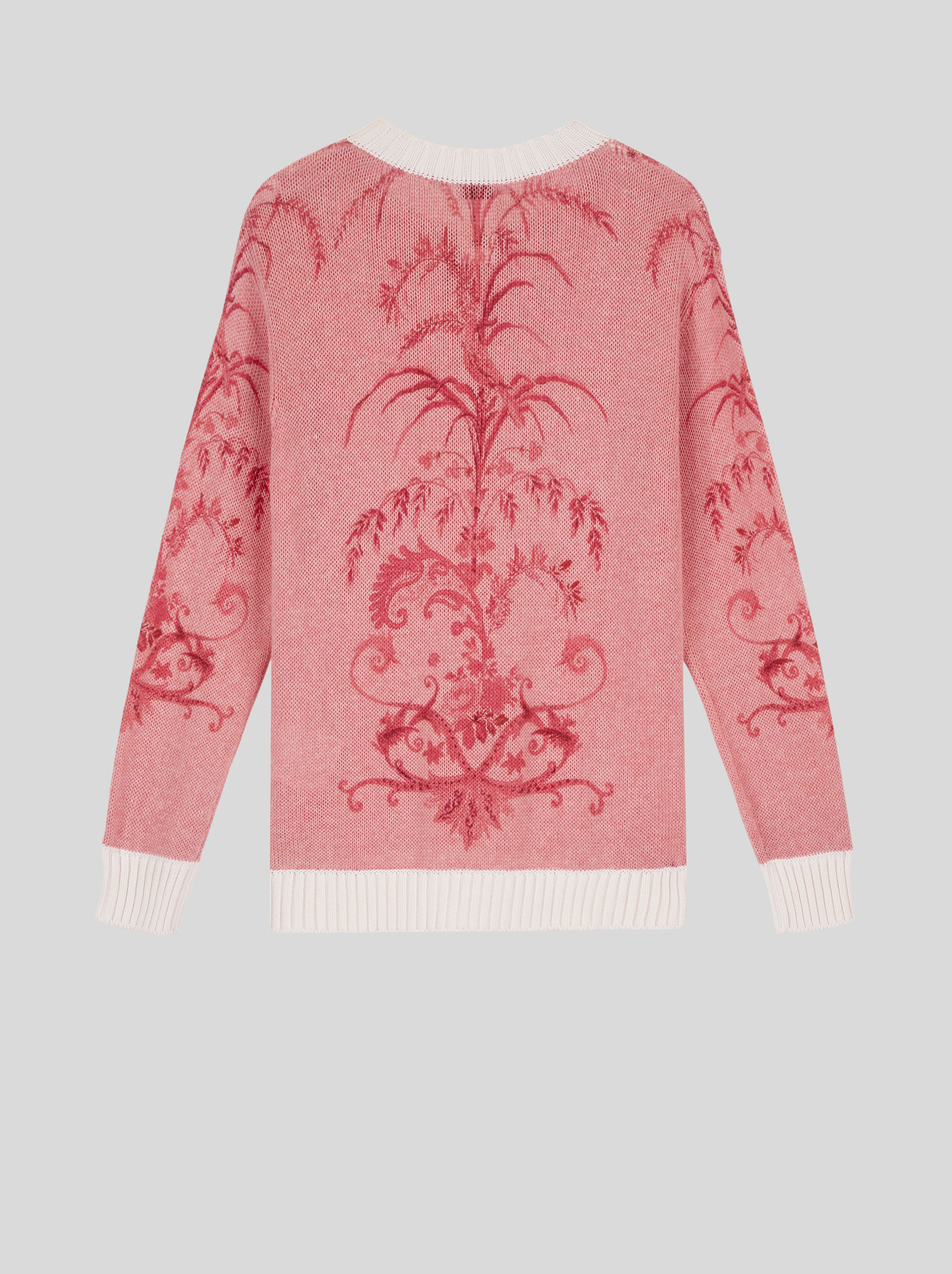 LEAFY PRINT COTTON AND CASHMERE JUMPER