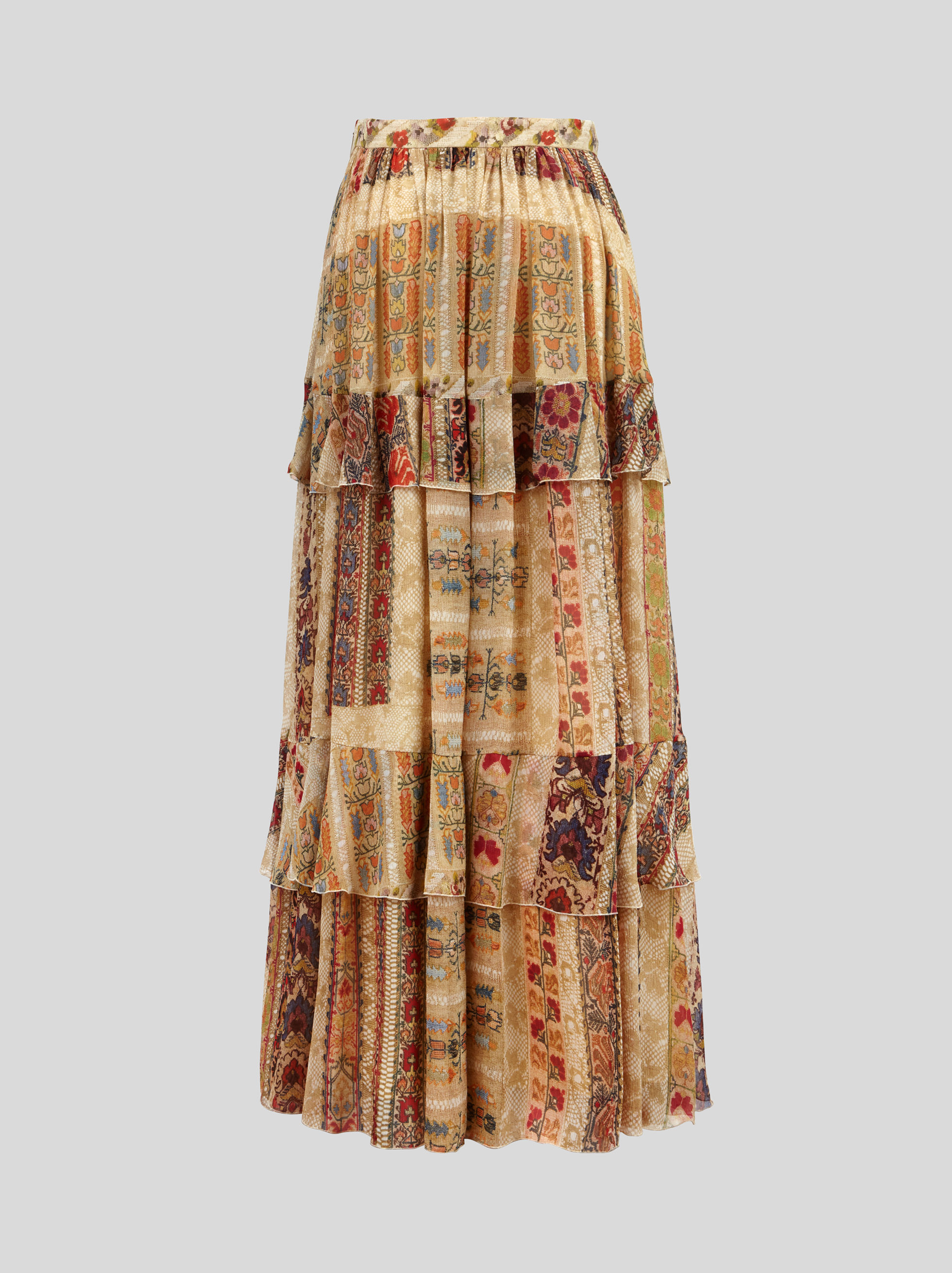 SILK SKIRT WITH RUCHES