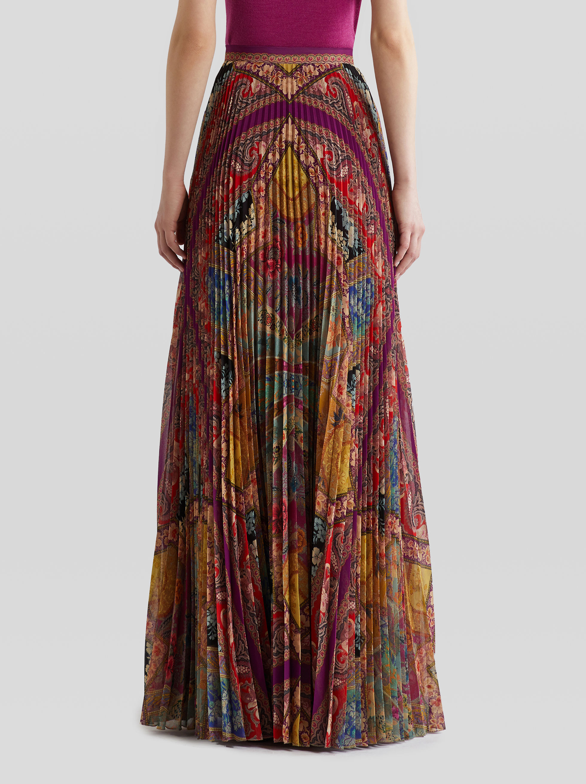 MAXI FLORAL PRINT PLEATED SKIRT