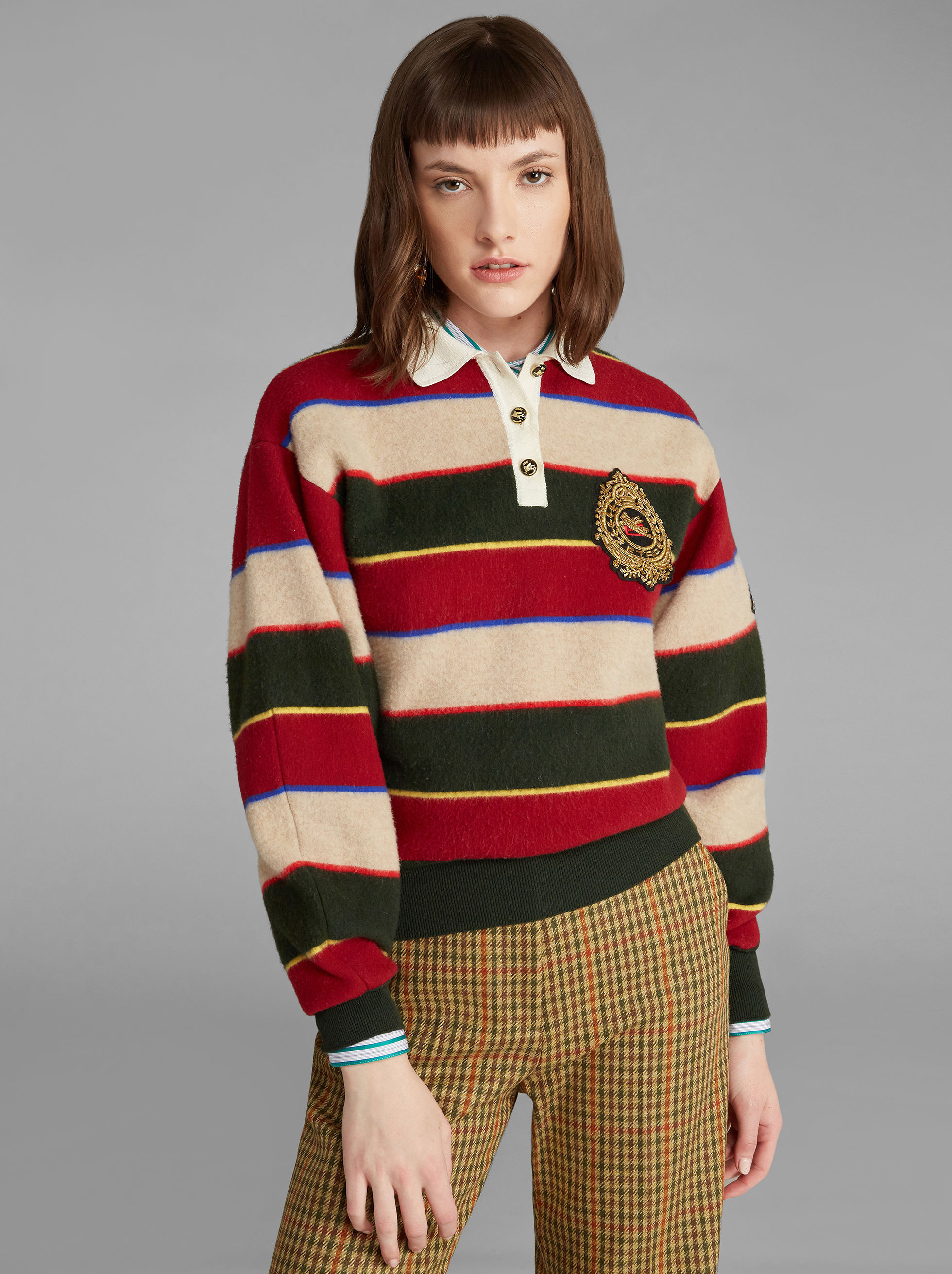 STRIPED KNITTED POLO SHIRT