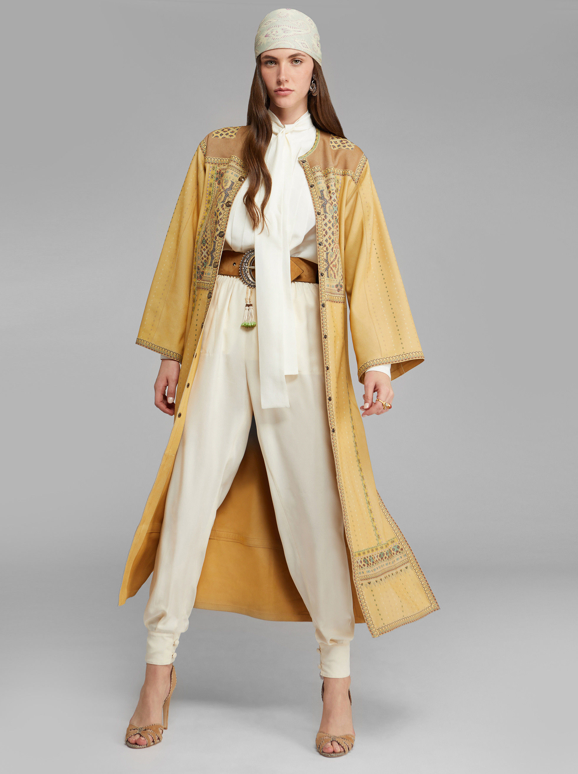 LIGHT SUEDE COAT WITH PAISLEY PRINT