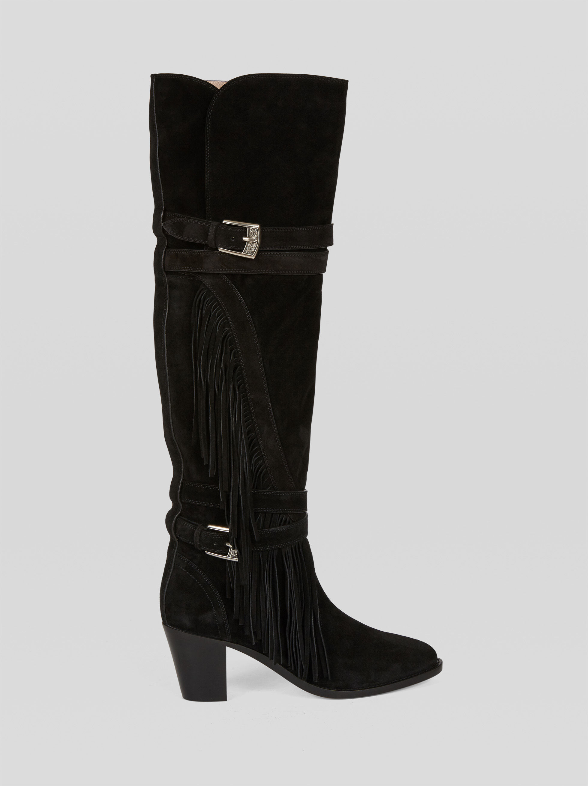 LEATHER BOOTS WITH FRINGE