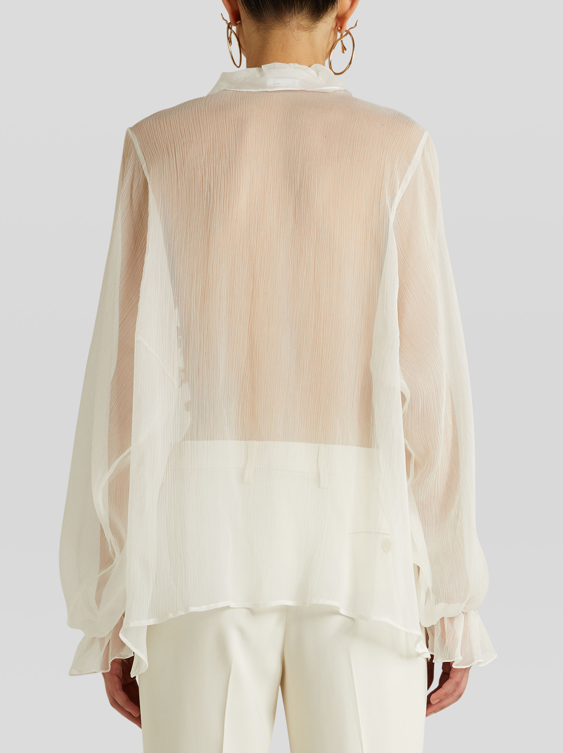 EMBROIDERED SILK SHIRT WITH RUCHES