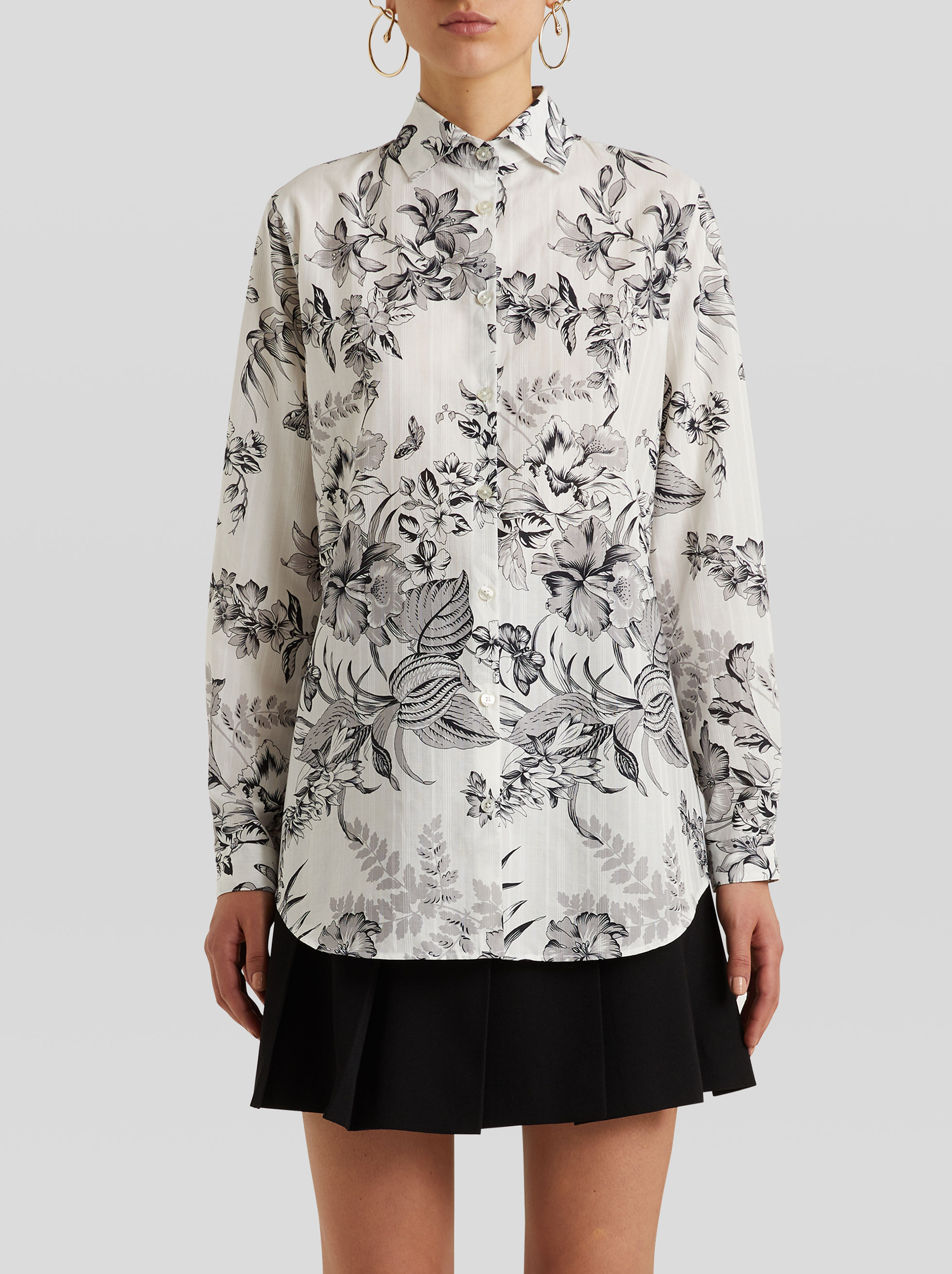 COTTON SHIRT WITH FOLIAGE AND BUTTERFLY PRINT