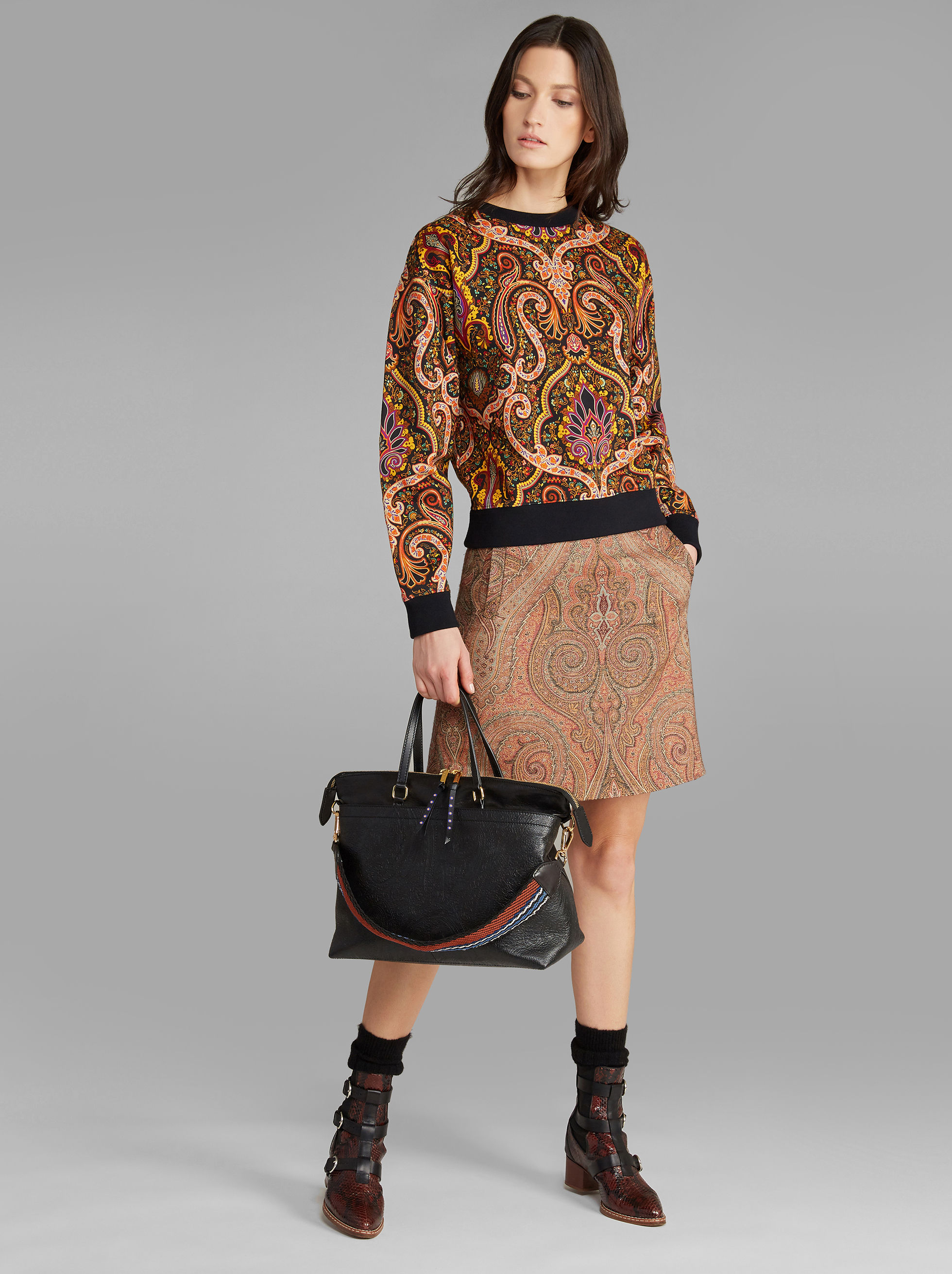 ETRACTIVE TEXTURED PAISLEY-PRINT SHOPPER BAG