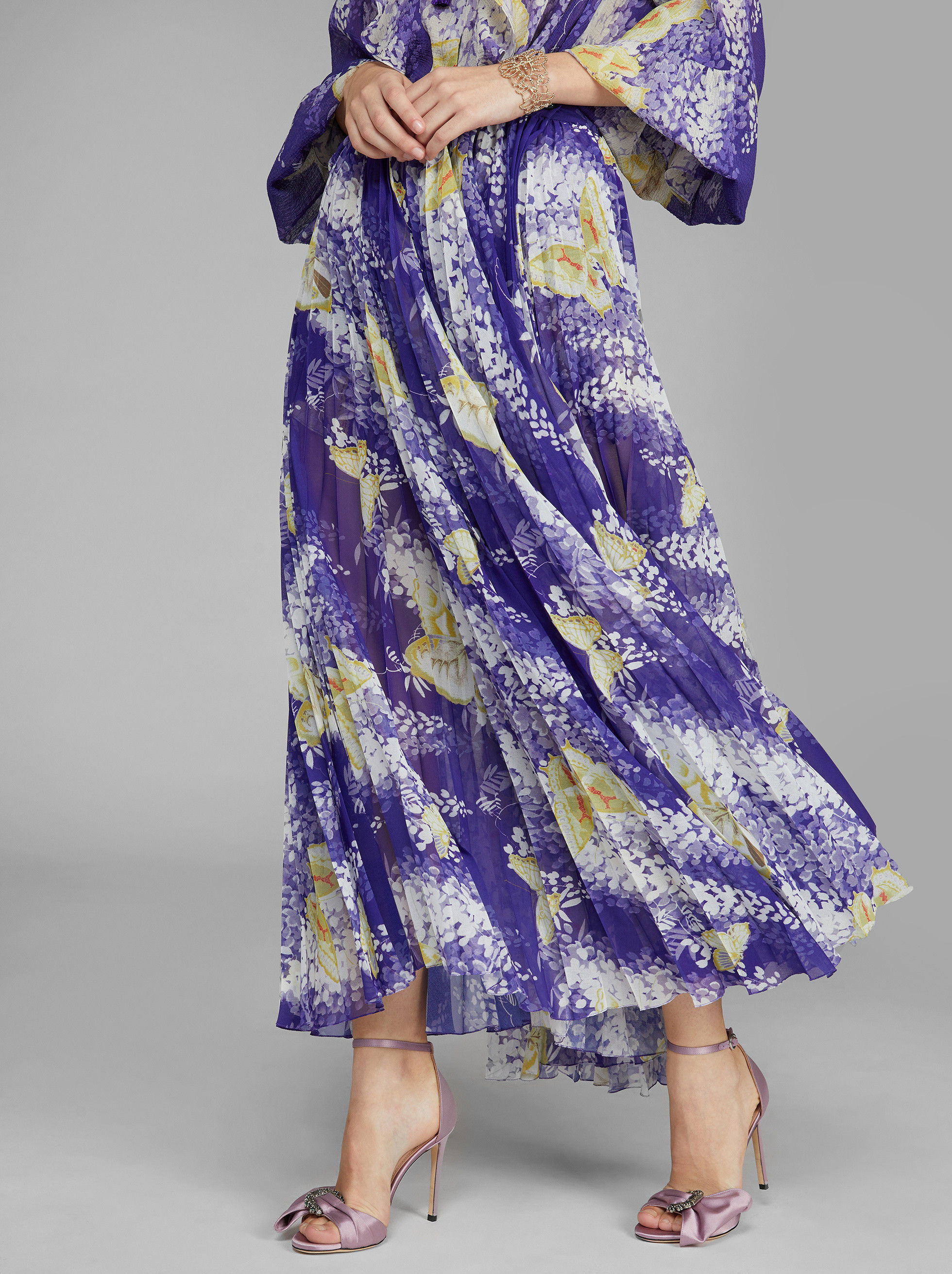 LONG WISTERIA PRINT SKIRT