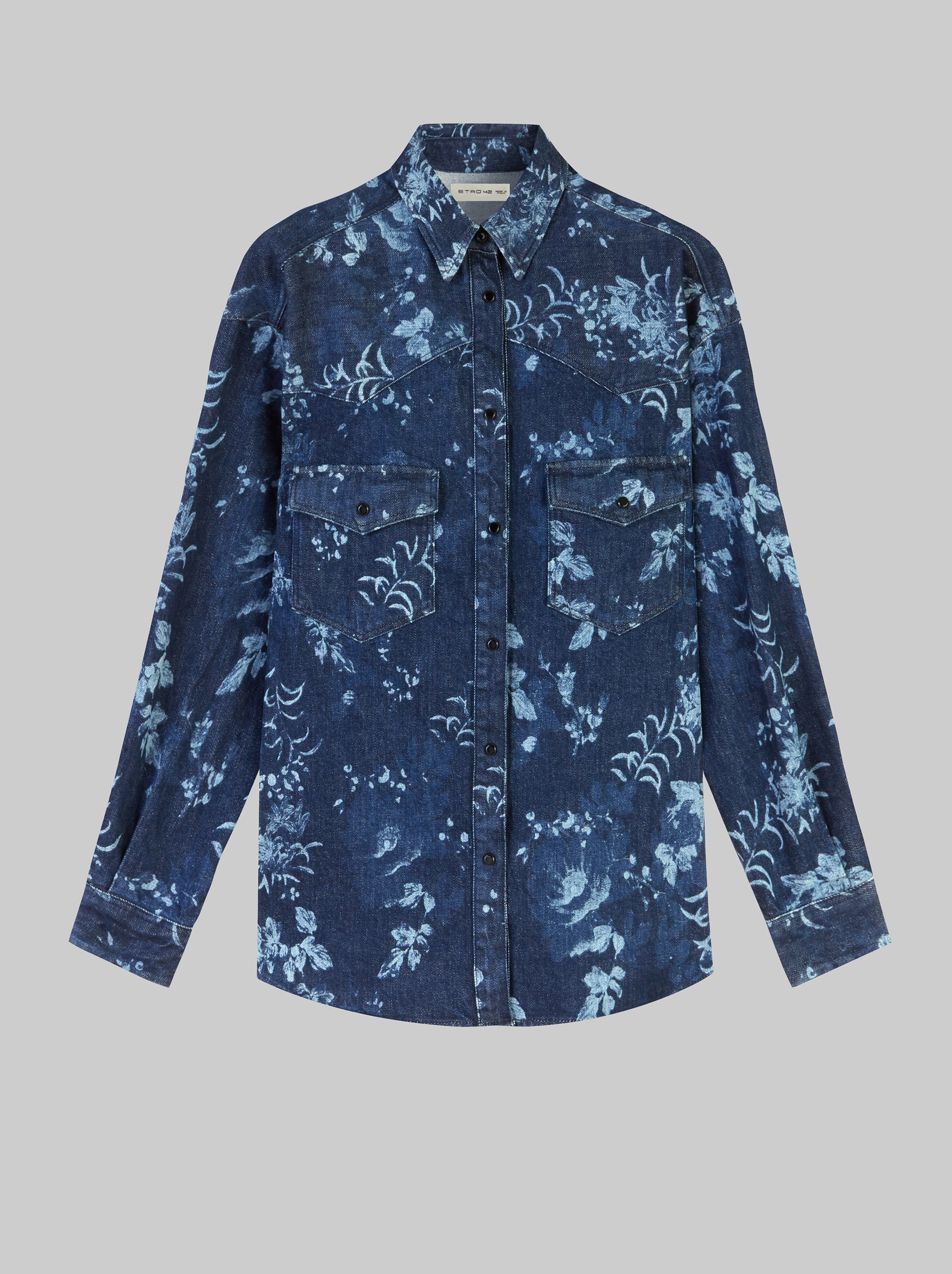 SHIRT WITH FLORAL CORROSION PATTERN