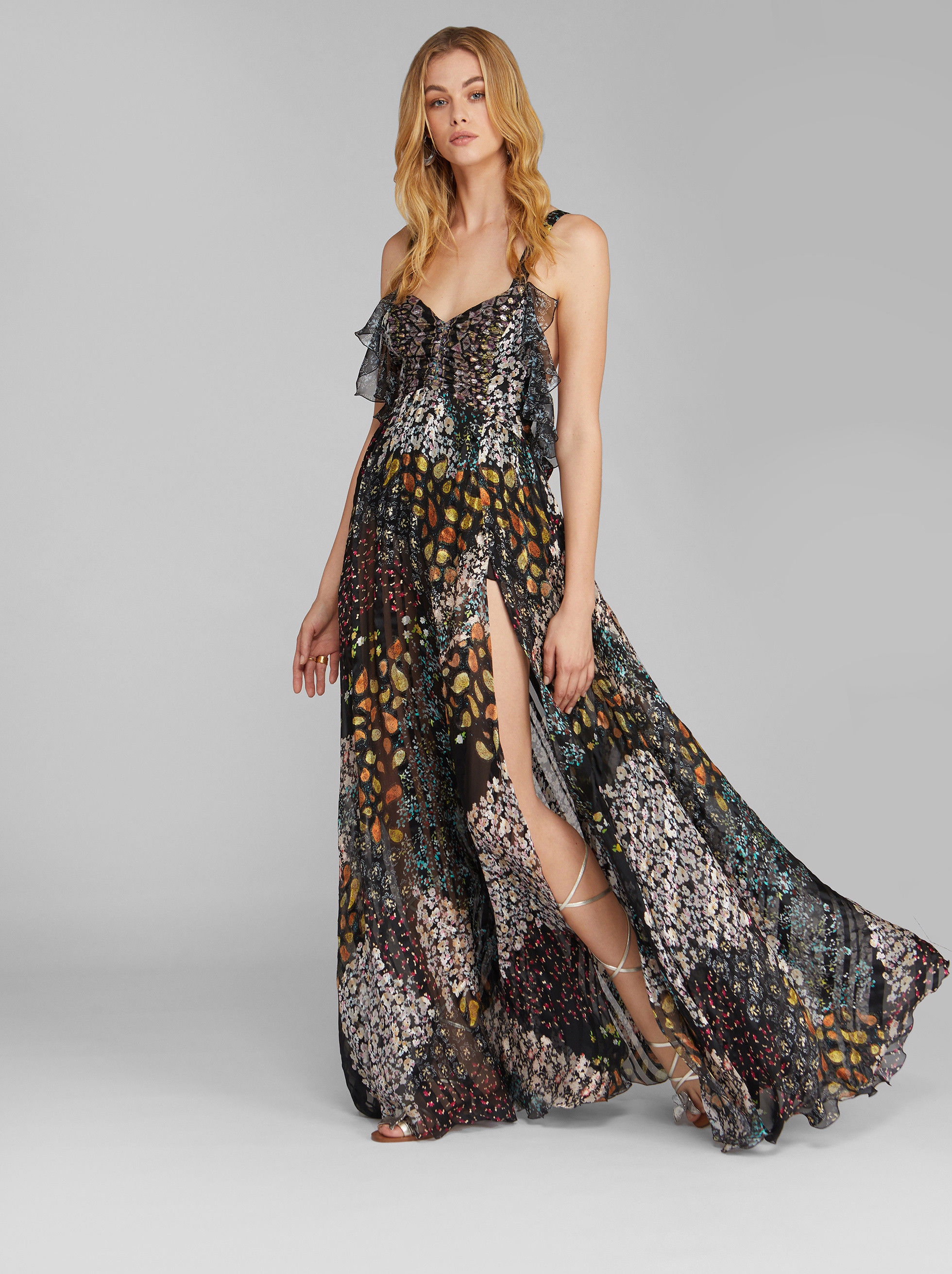FLORAL PAISLEY PRINT EVENING DRESS