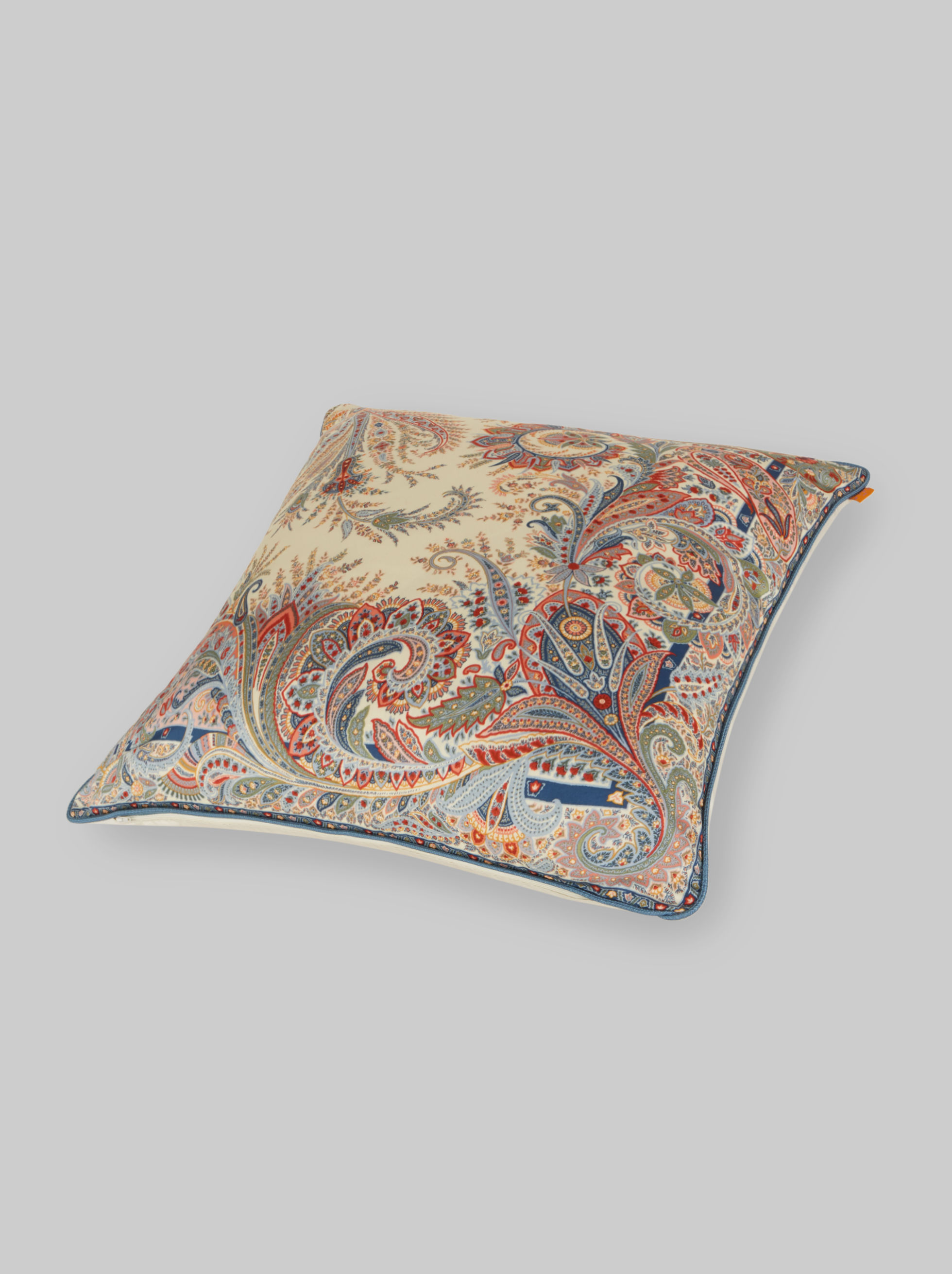 SATEEN CUSHION WITH PAISLEY DECORATIONS
