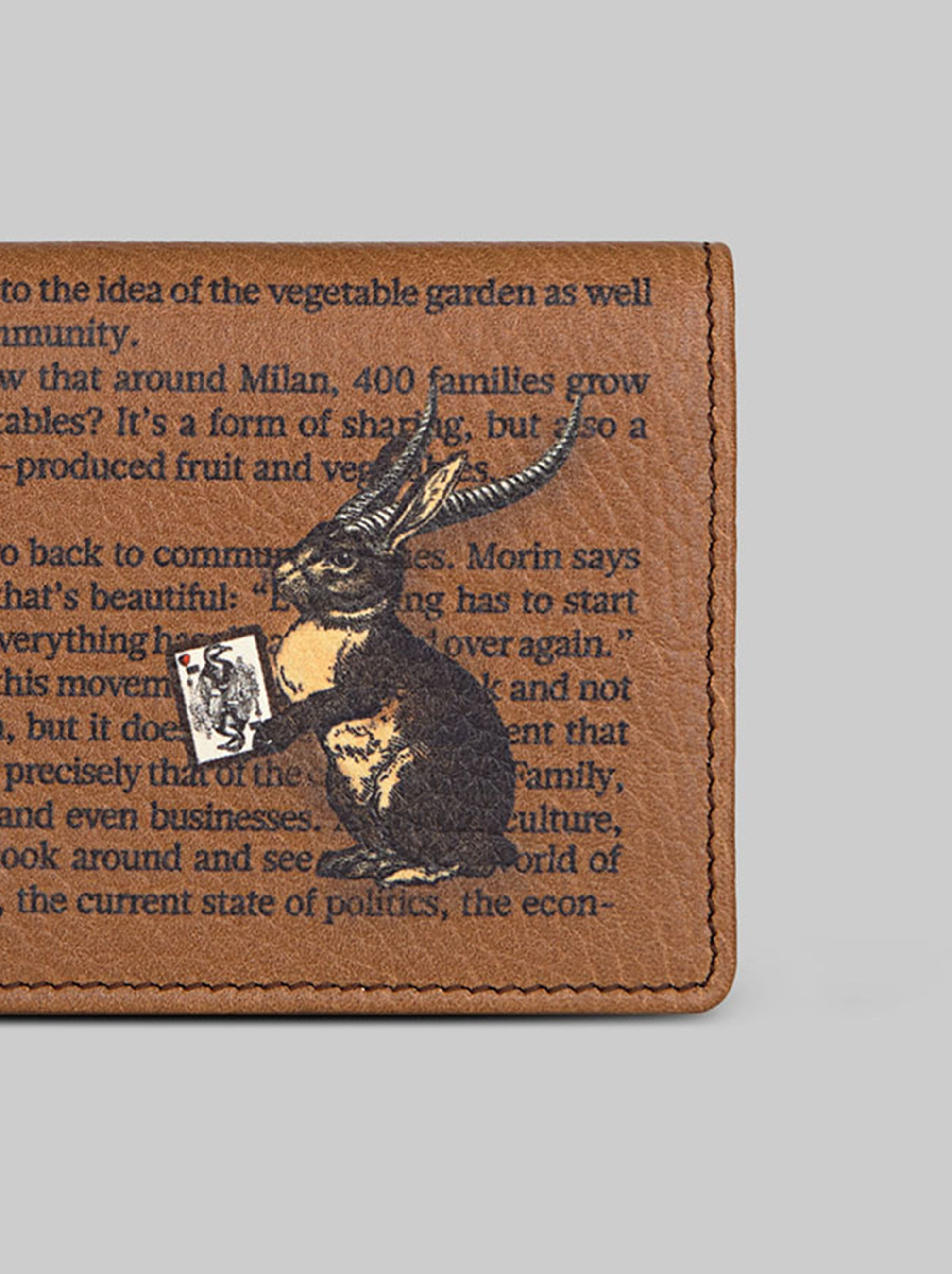 RABBIT-PRINT LEATHER CREDIT CARD HOLDER