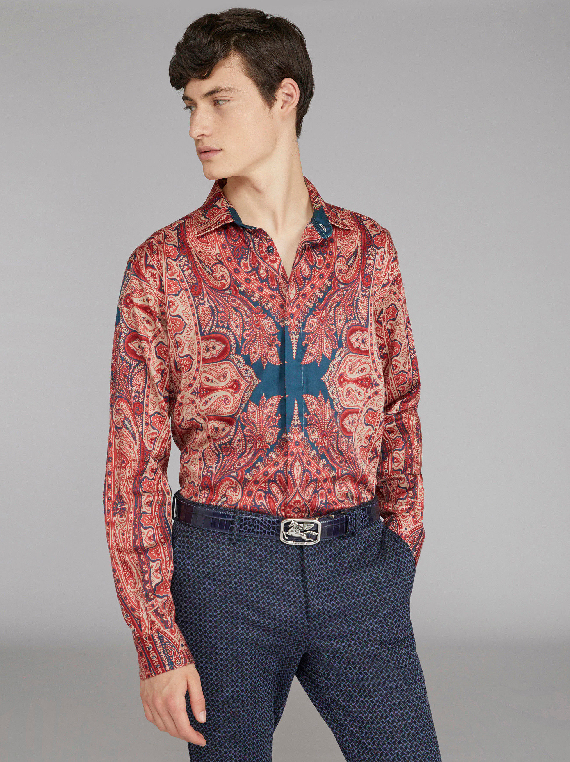 PLACED PAISLEY PRINT COTTON SHIRT
