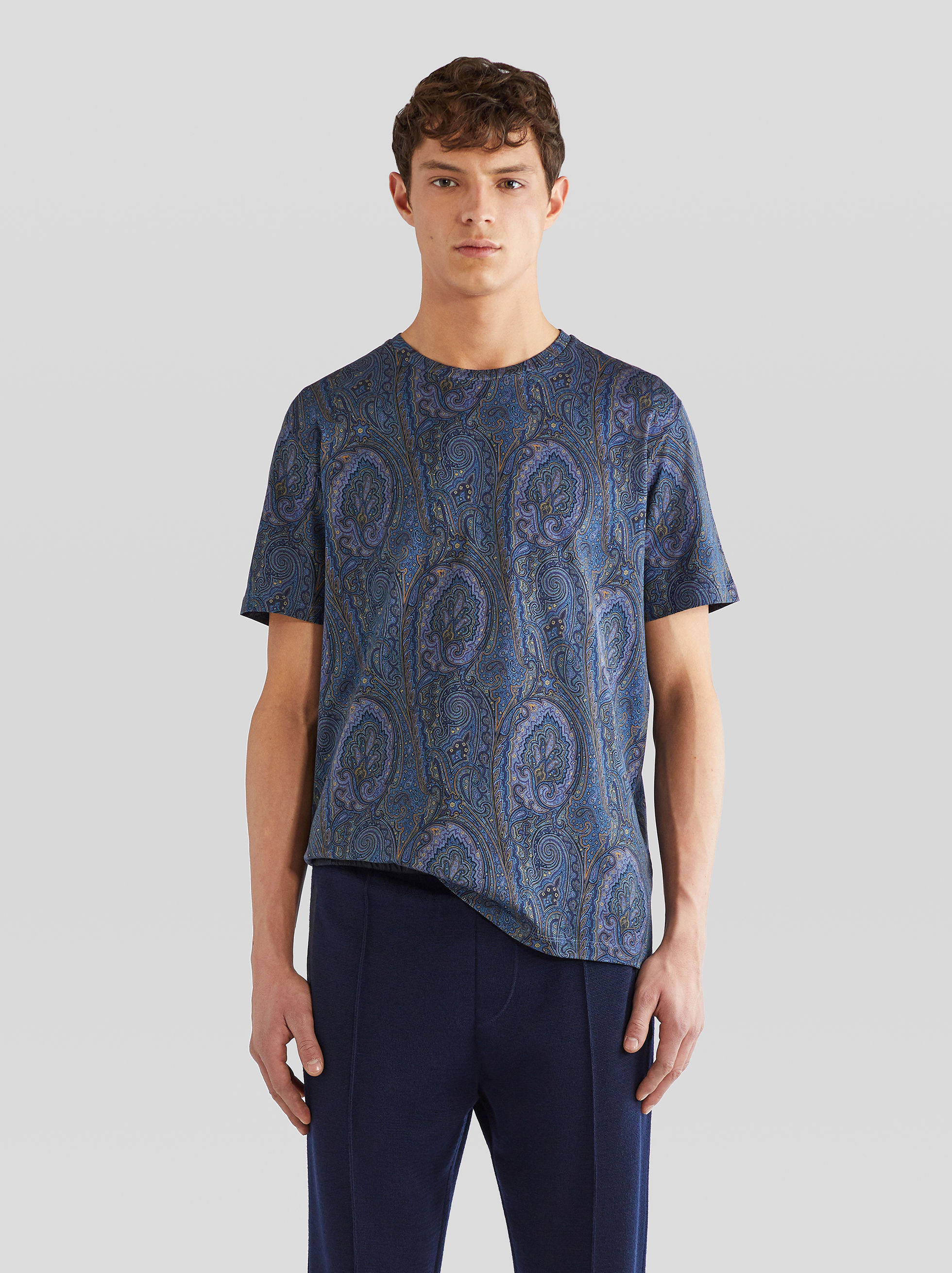 PAISLEY PRINT COTTON T-SHIRT