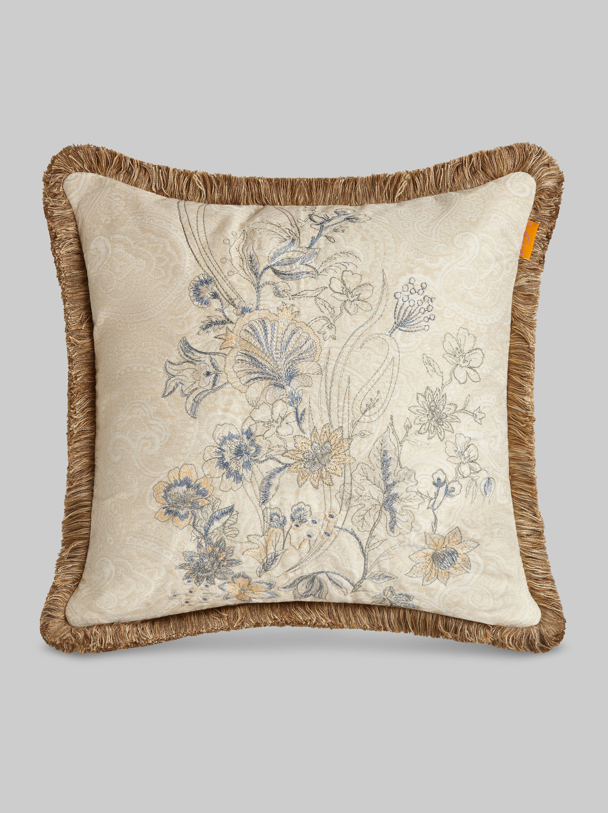 EMBROIDERED CUSHION WITH FLORAL PATTERNS