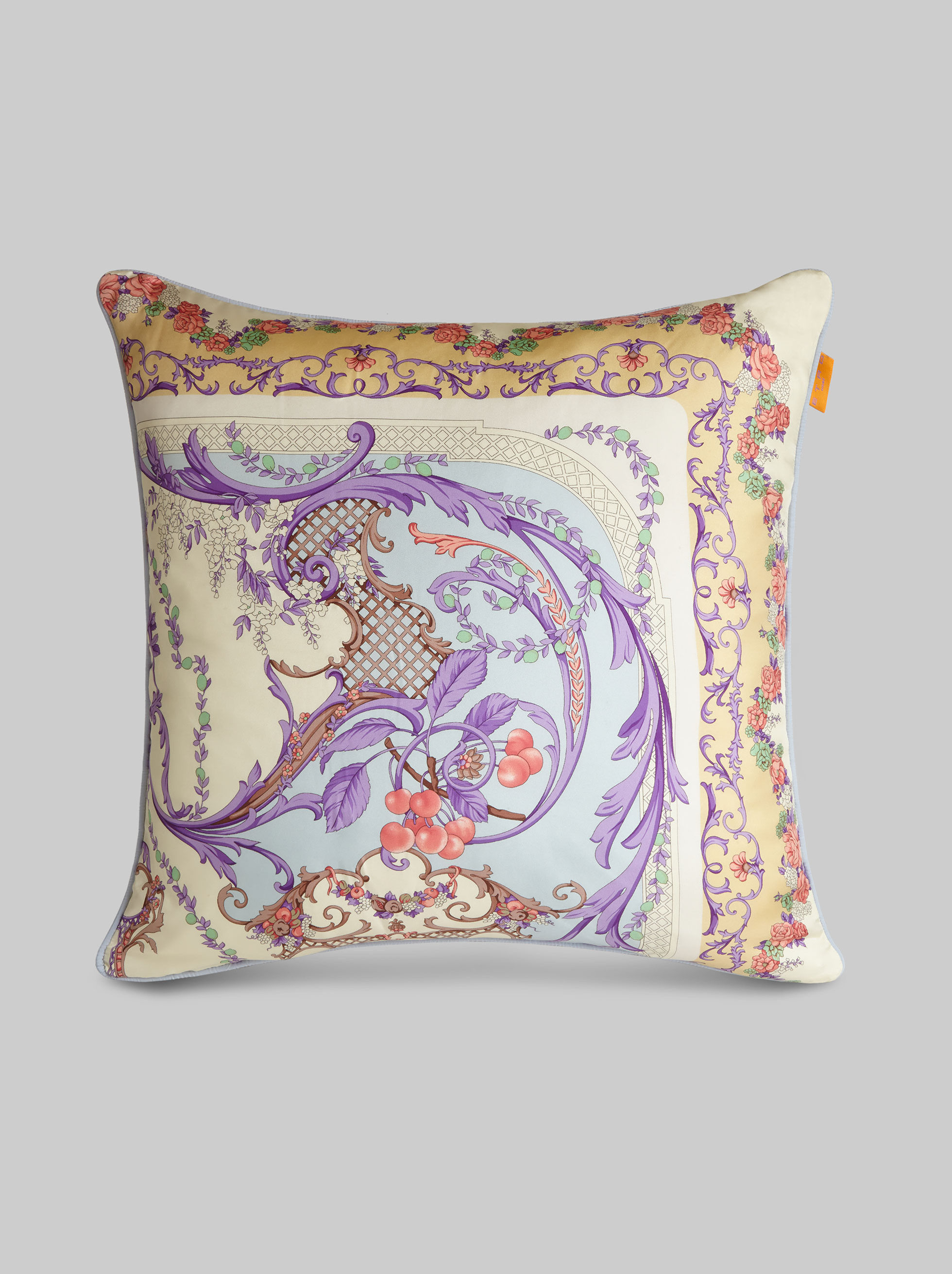 SILK CUSHION WITH ORNAMENTAL PRINT