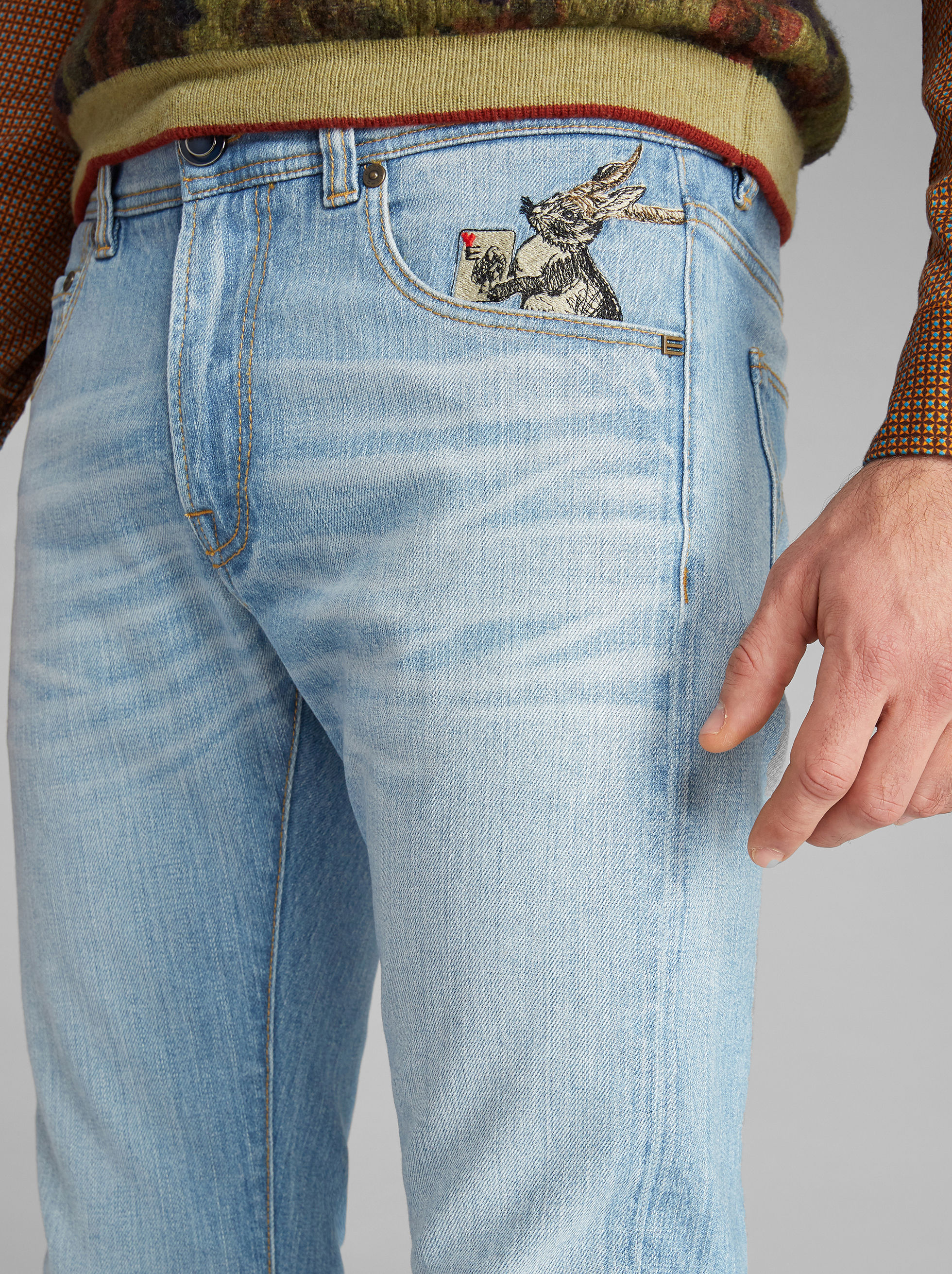 BENETROESSERE JEANS WITH EMBROIDERY