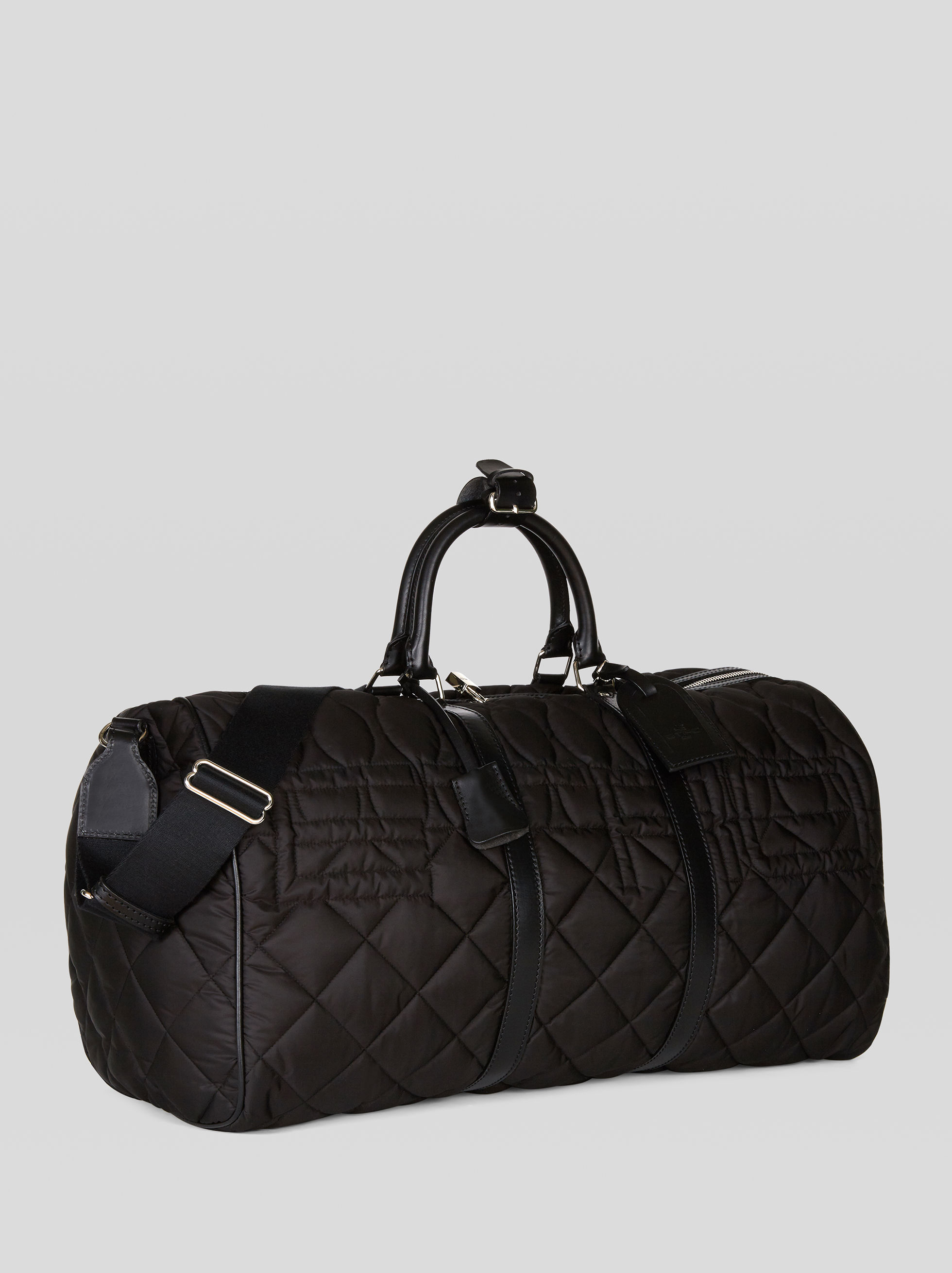 MATELASSÉ NYLON TRAVEL BAG WITH LOGO