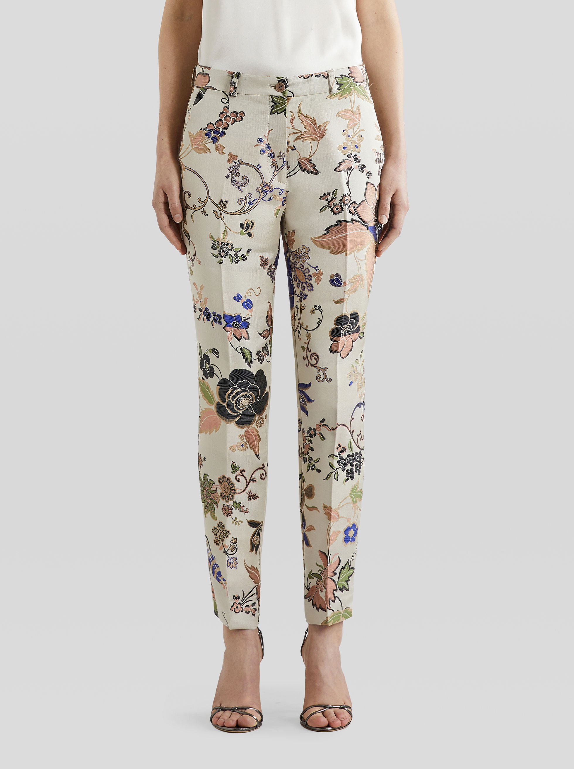 FLORAL JACQUARD TAILORED TROUSERS