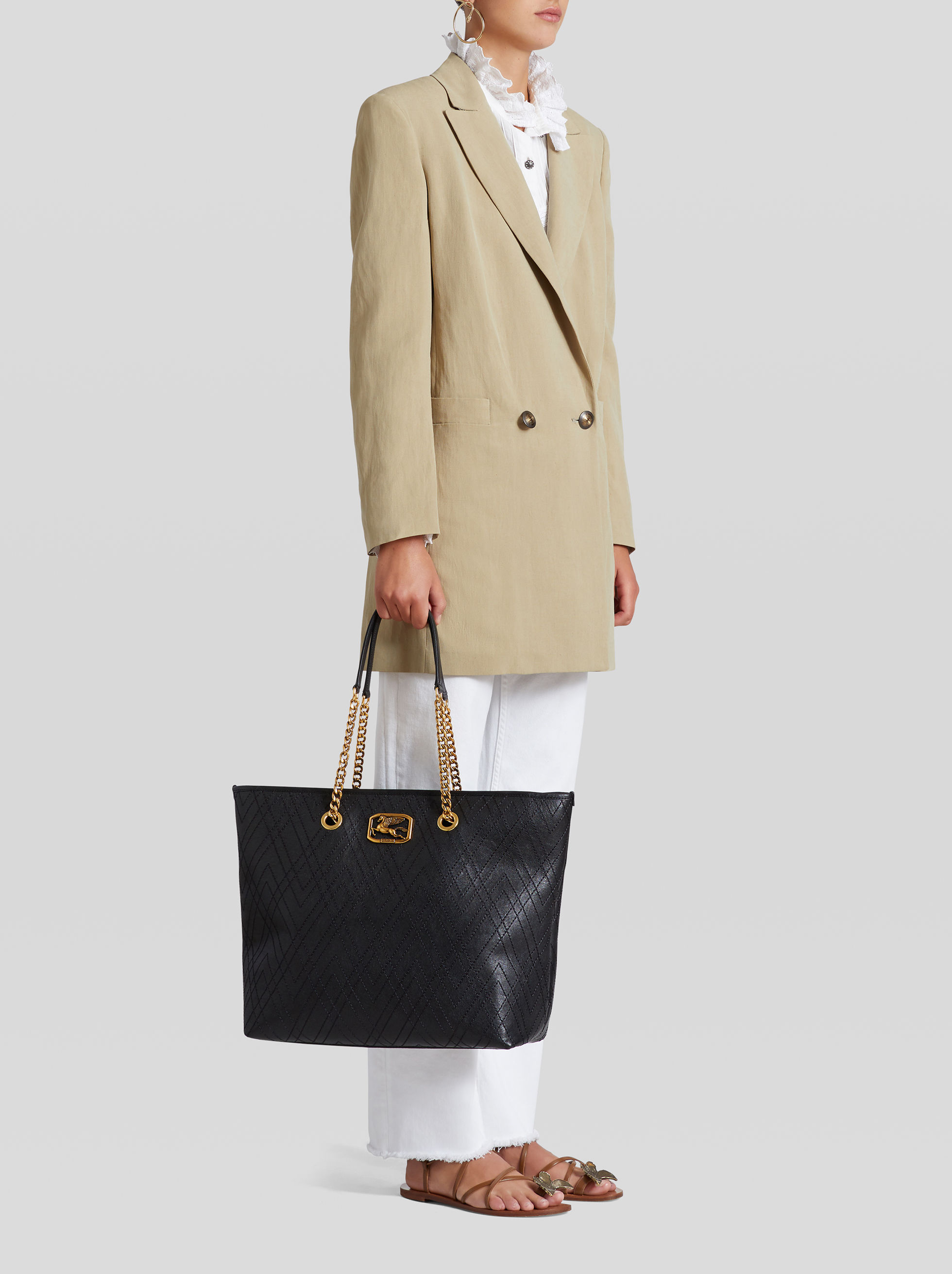 LEATHER PEGASO SHOPPING BAG