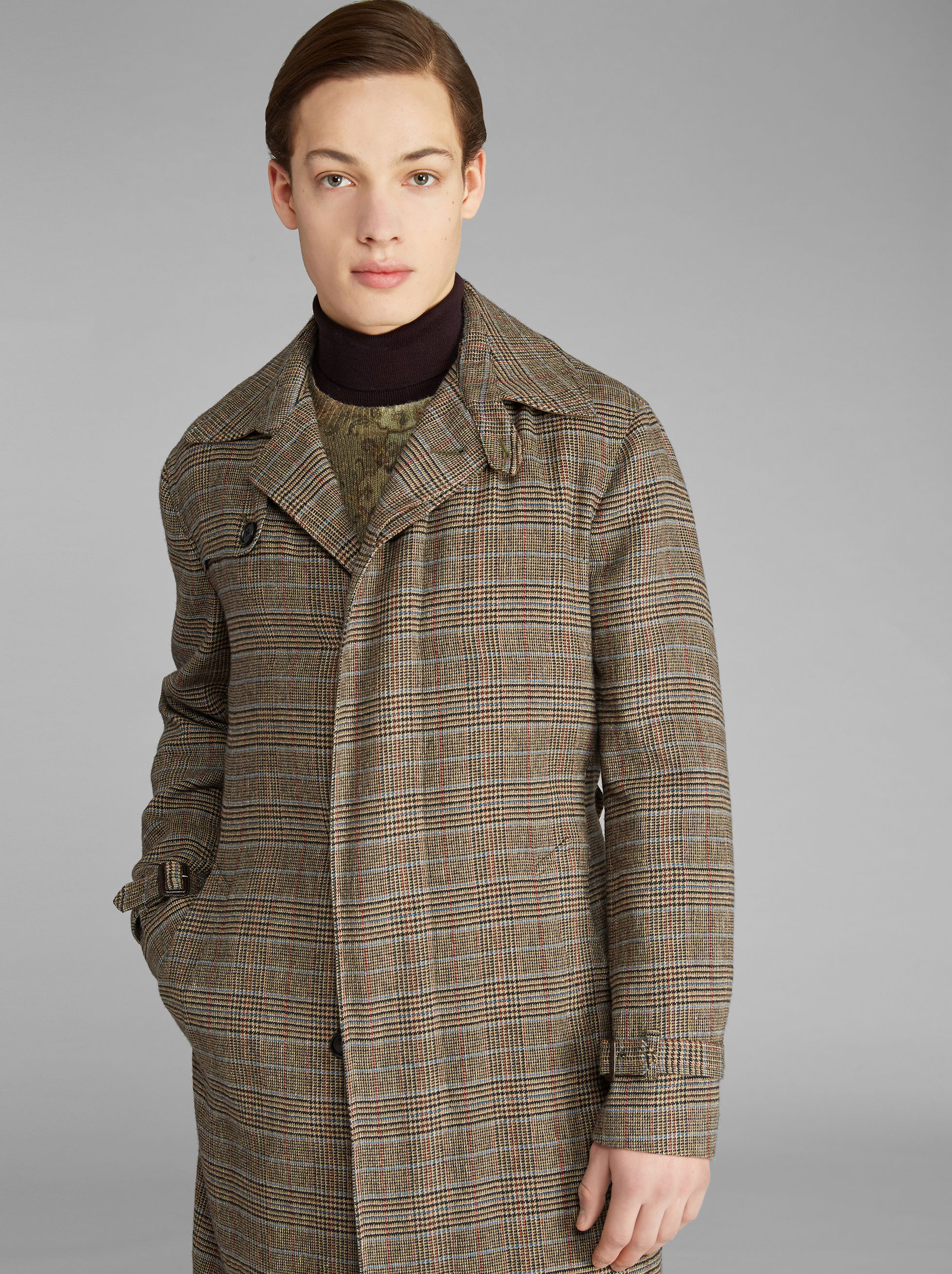 LINEN AND CASHMERE CHECK TRENCH COAT