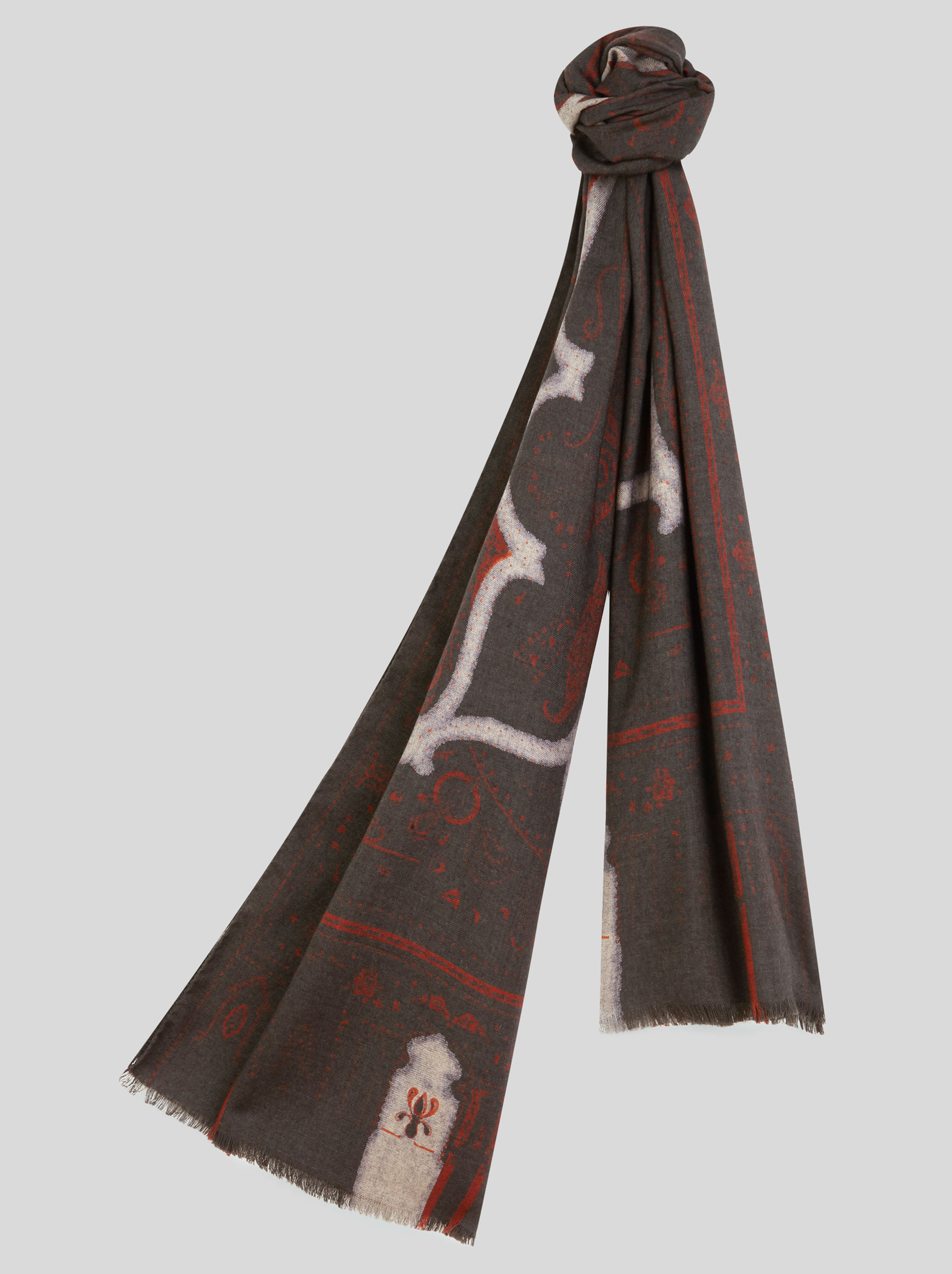 SCARF WITH GRAPHIC PAISLEY DESIGNS