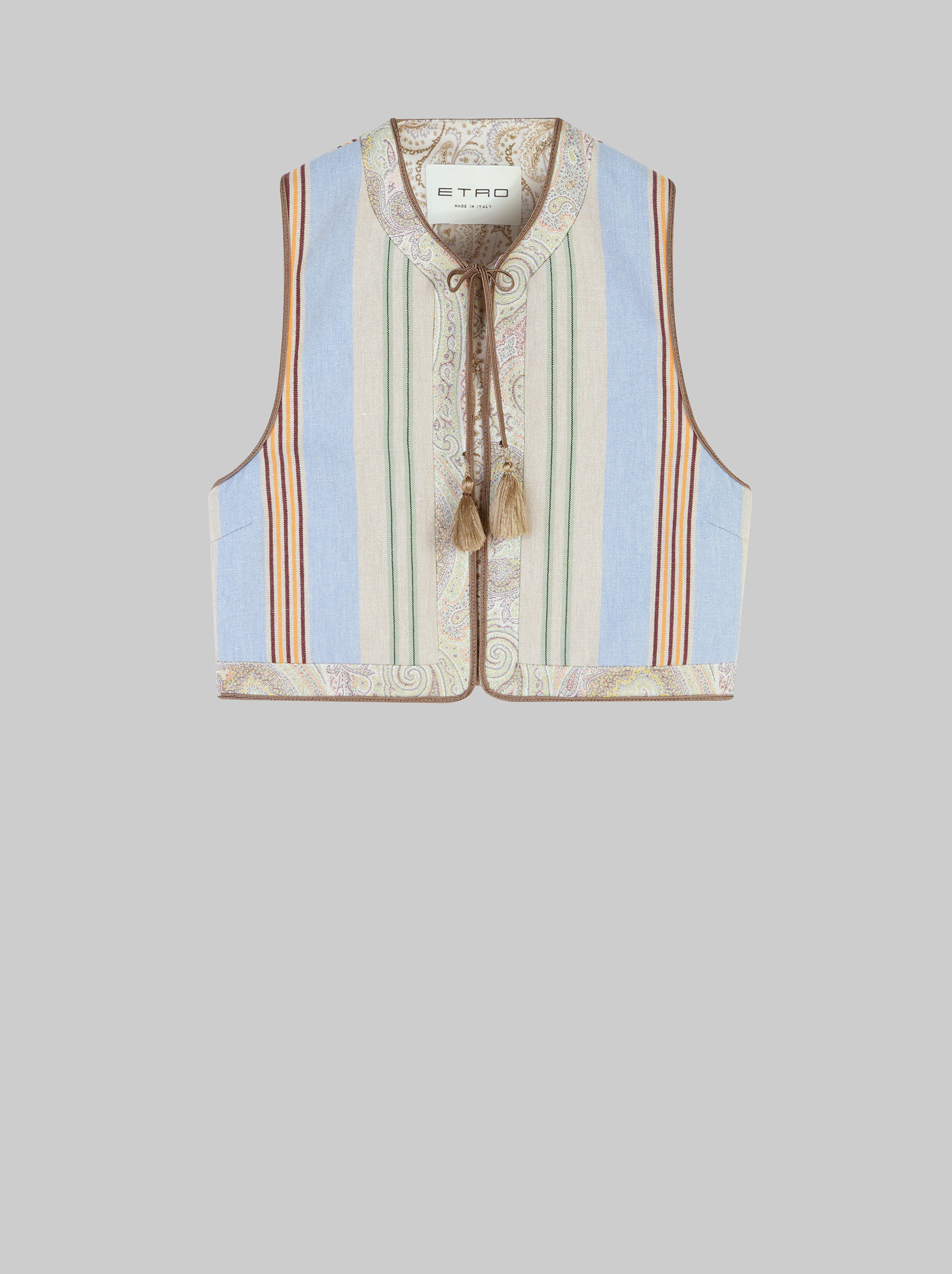 STRIPED WAISTCOAT WITH TASSELS