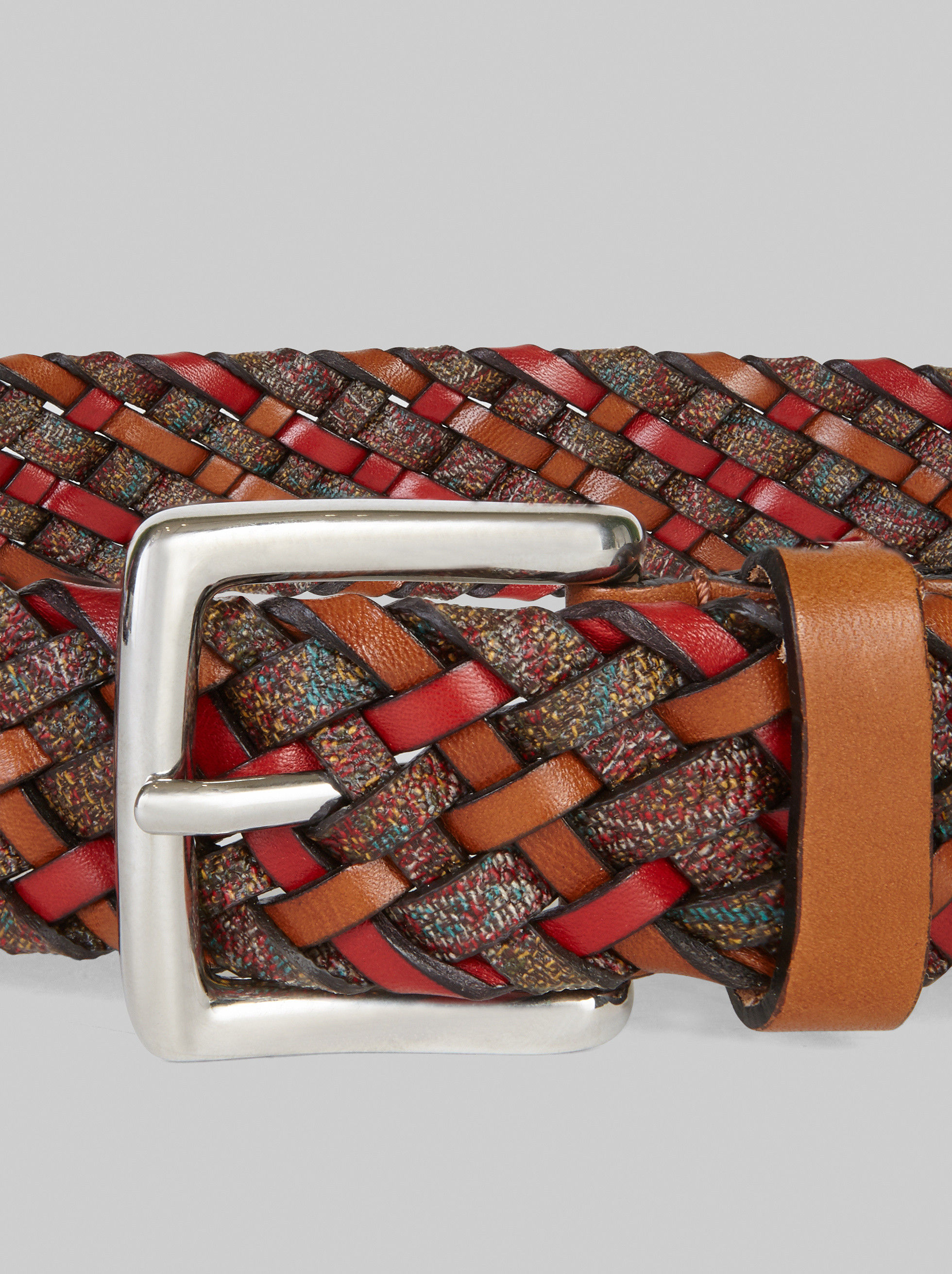 LEATHER AND PAISLEY CANVAS WOVEN BELT