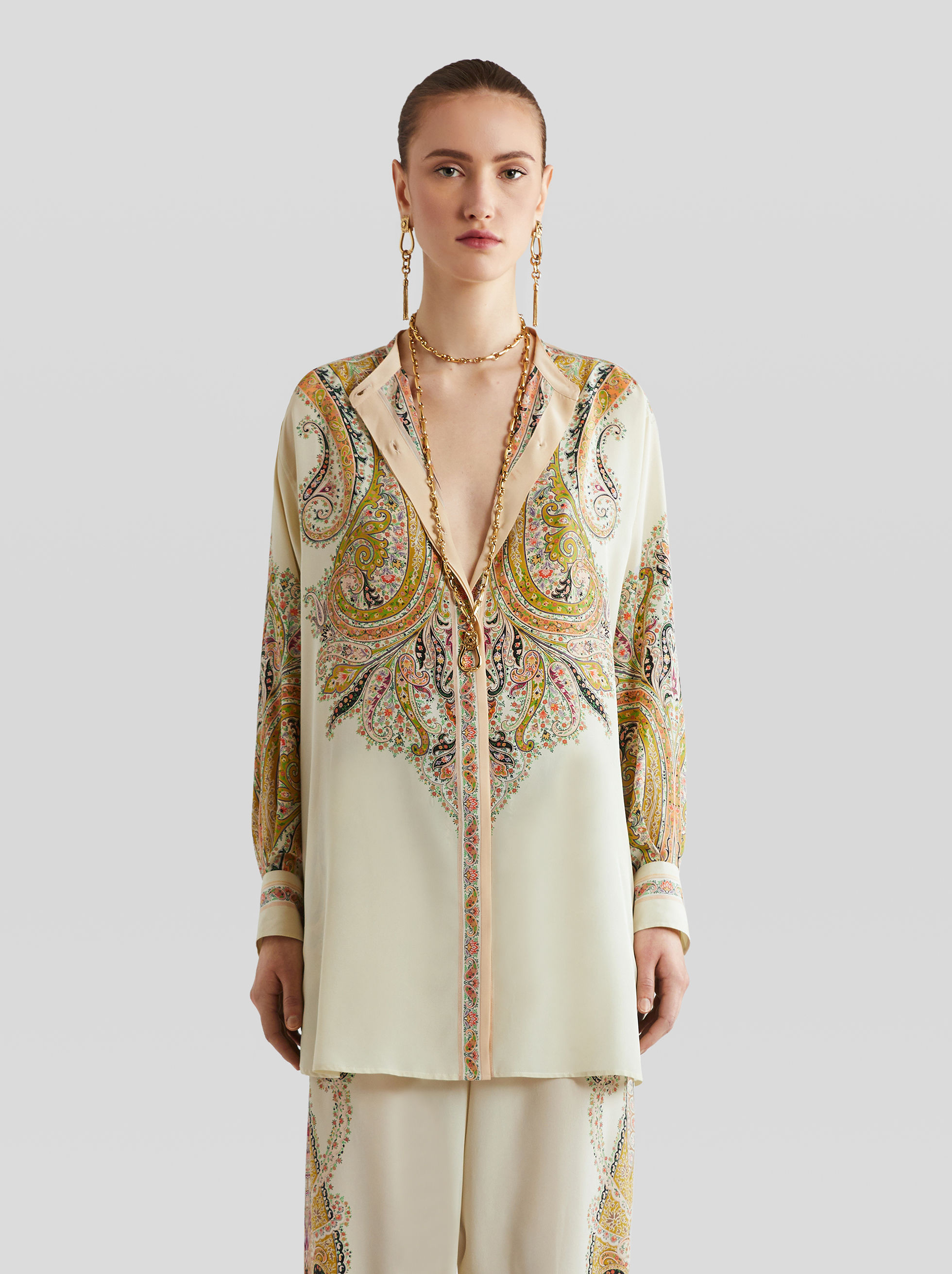 SILK SHIRT WITH PAISLEY PRINT