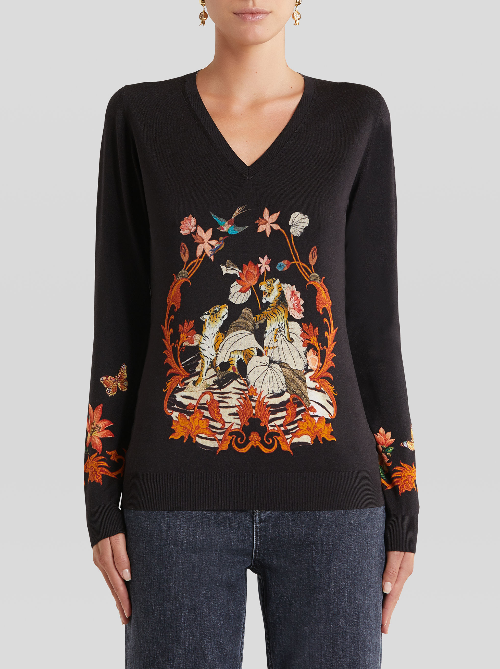 SILK JUMPER WITH TIGER AND WATER LILY PRINT