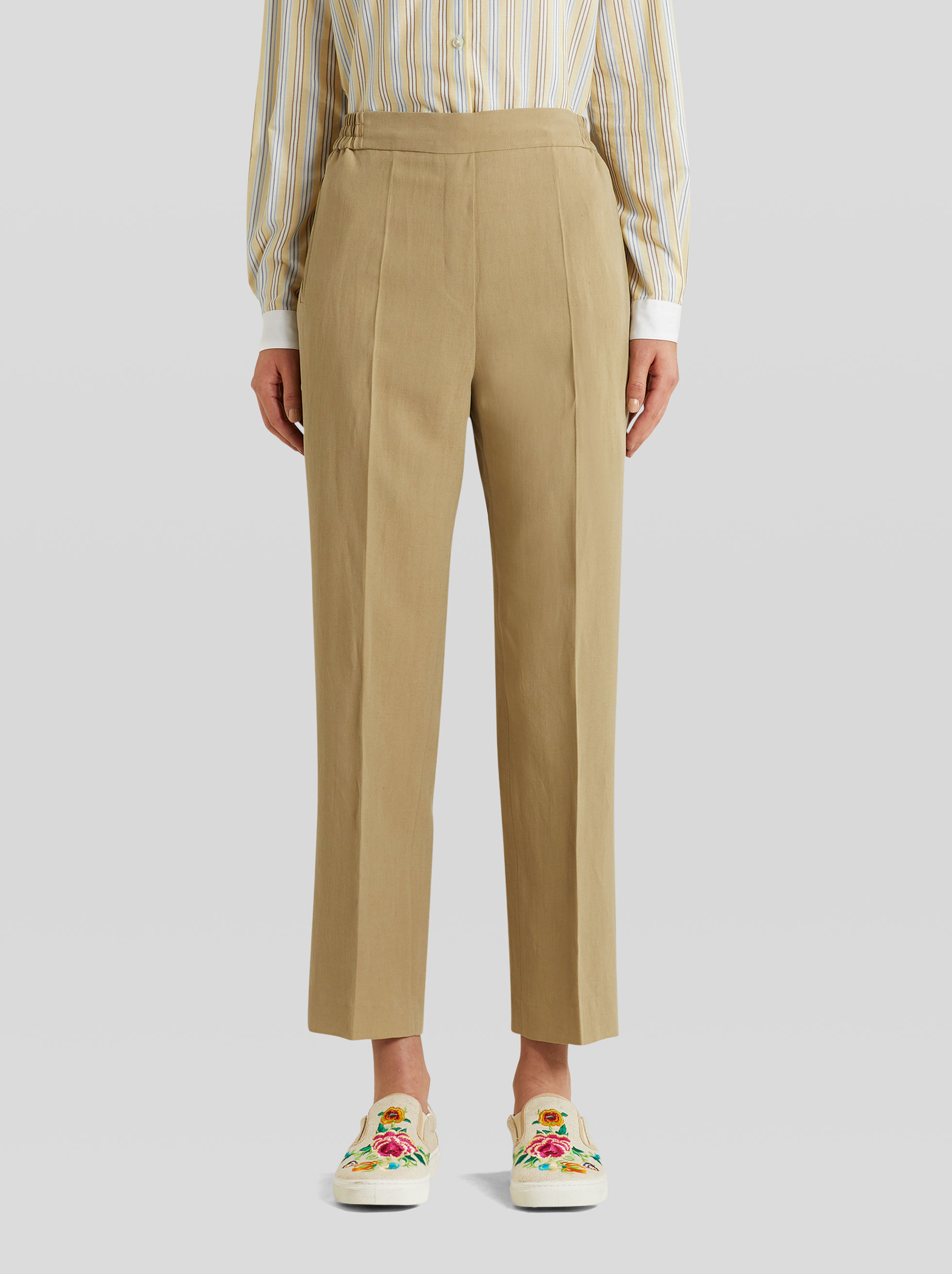 LINEN AND SILK JOGGING TROUSERS
