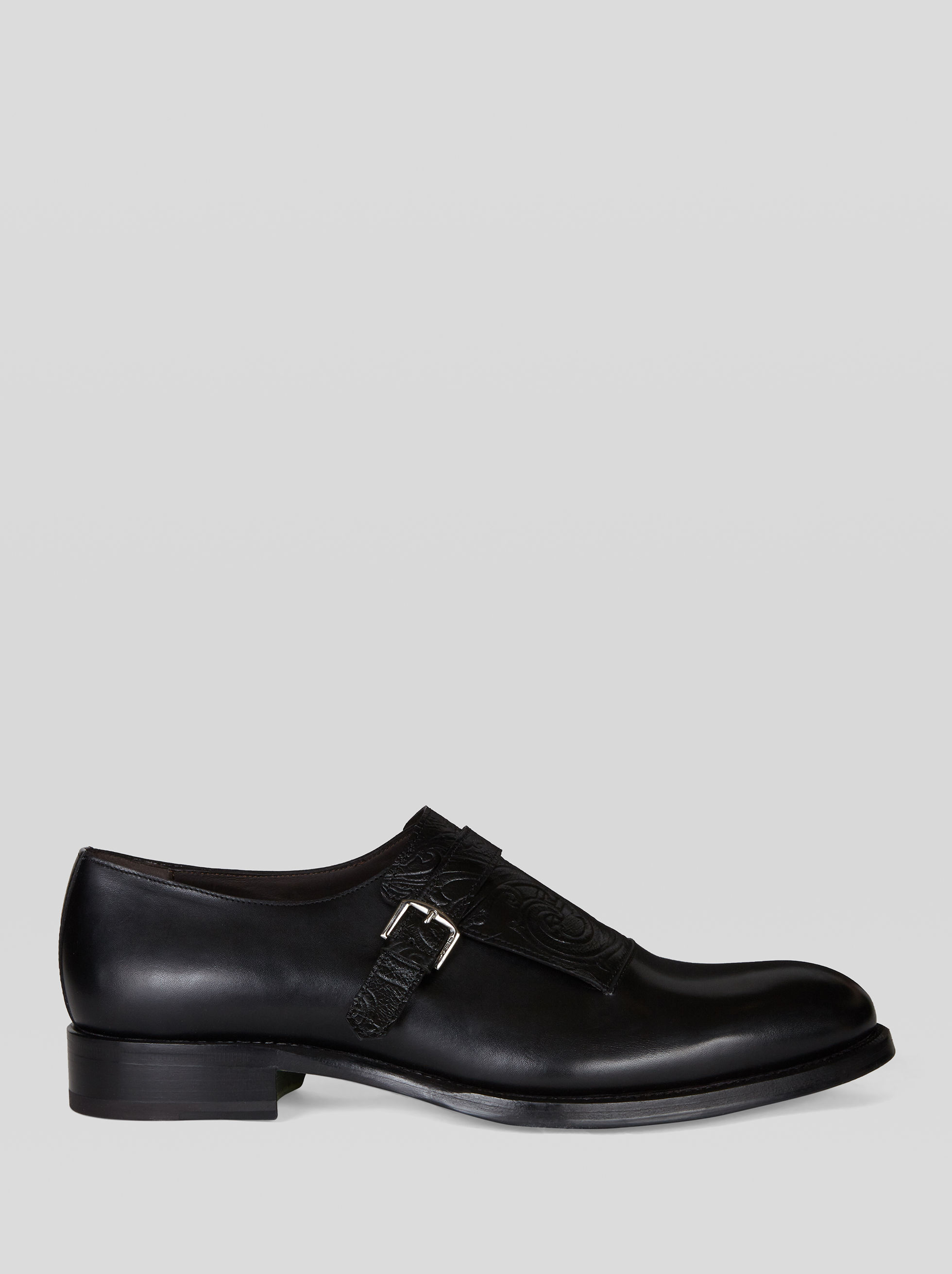 LEATHER MONK STRAPS WITH PAISLEY PATTERN